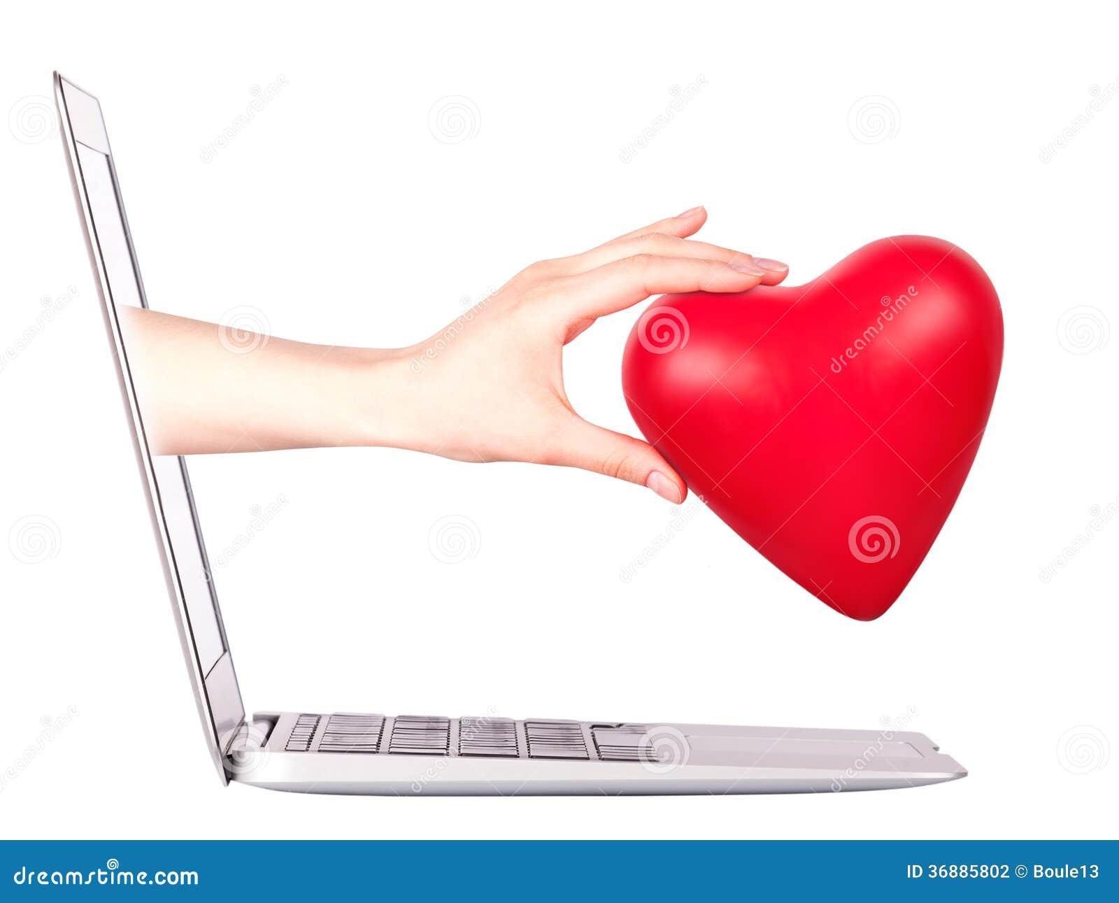 Download Mano Con Un Cuore - Regalo E Computer Portatile Fotografia Stock - Immagine di regalo, poco: 36885802