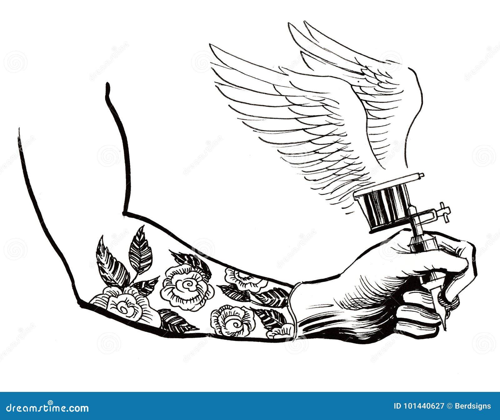 mano con una m u00e1quina del tatuaje stock de ilustraci u00f3n