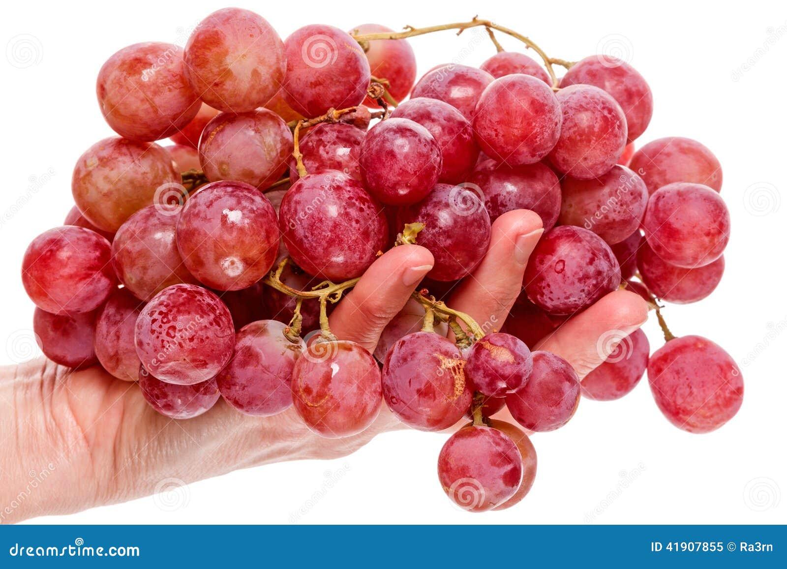 Mano con uvas rojas grandes
