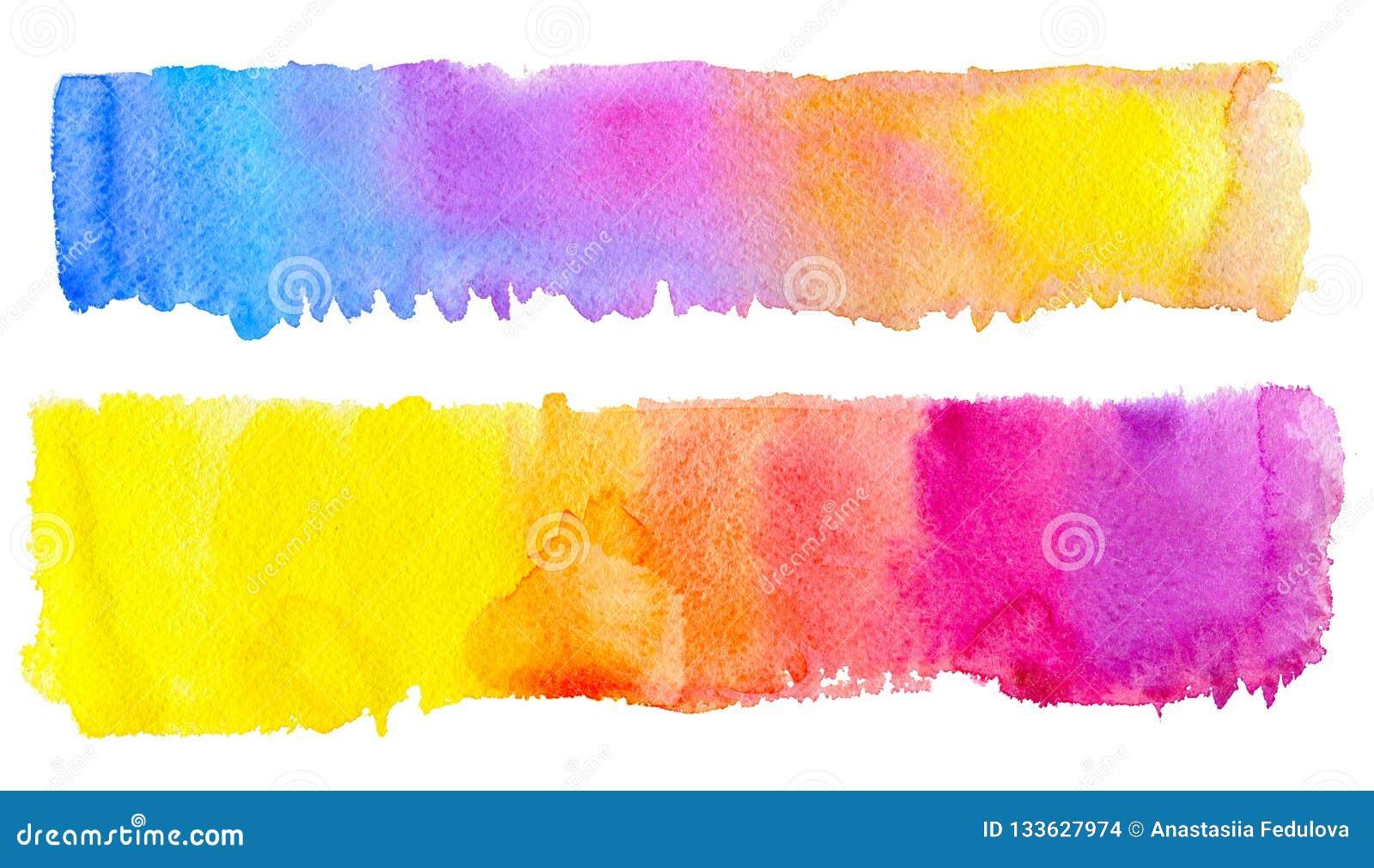 Mano de la acuarela raya dibujada del cepillo de dos arco iris para crear su diseño