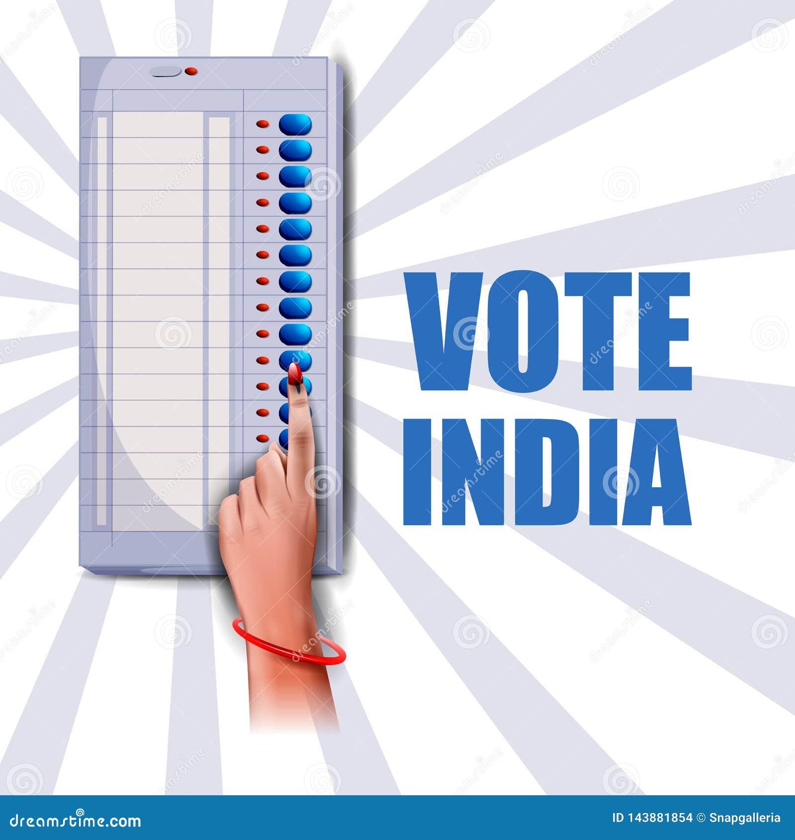 Mano de la demostración de la bandera del cartel de la gente india para la campaña de la interrogación de la elección y del voto