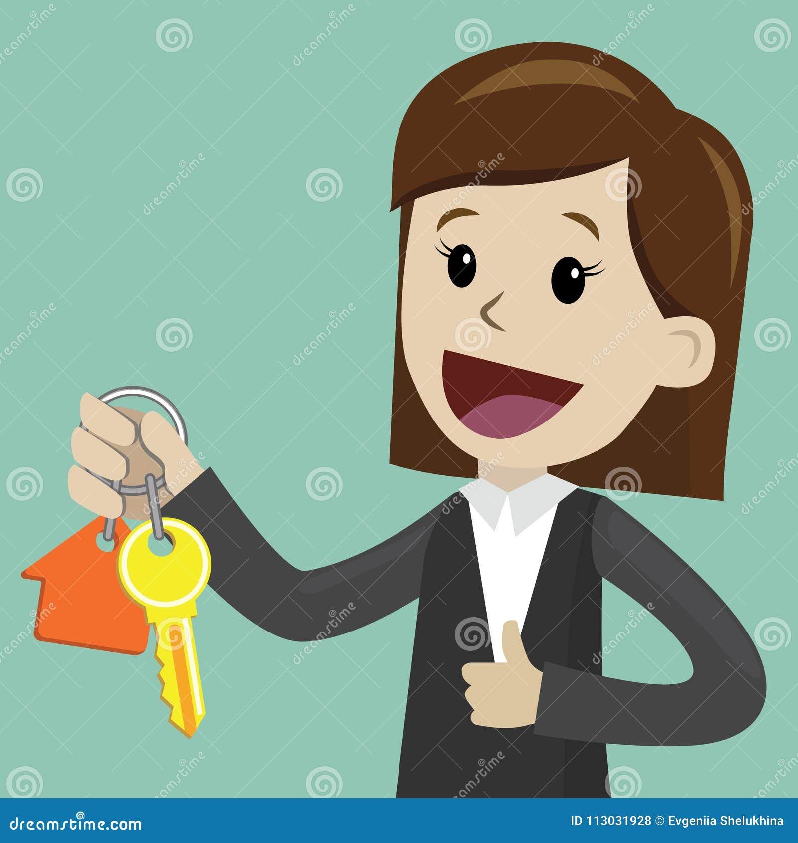 Mano de la empresaria que compra una casa Los agentes inmobiliarios dan el donante de llaves al cliente Concepto 6 de las propied