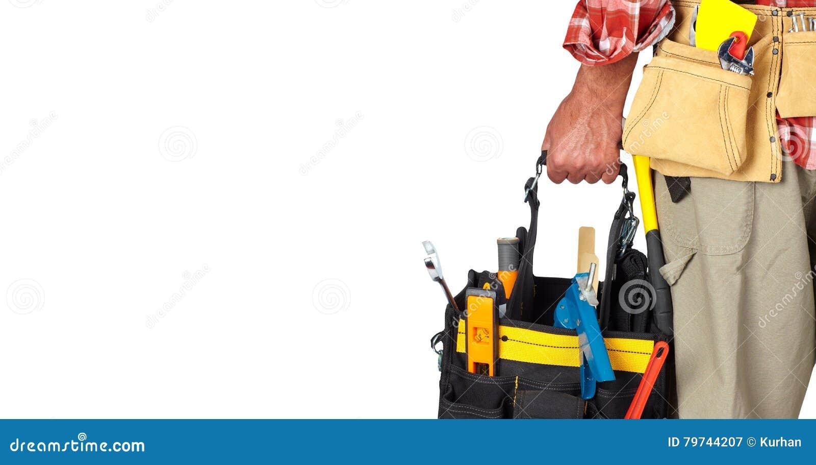 Mano de la manitas con una bolsa de herramientas