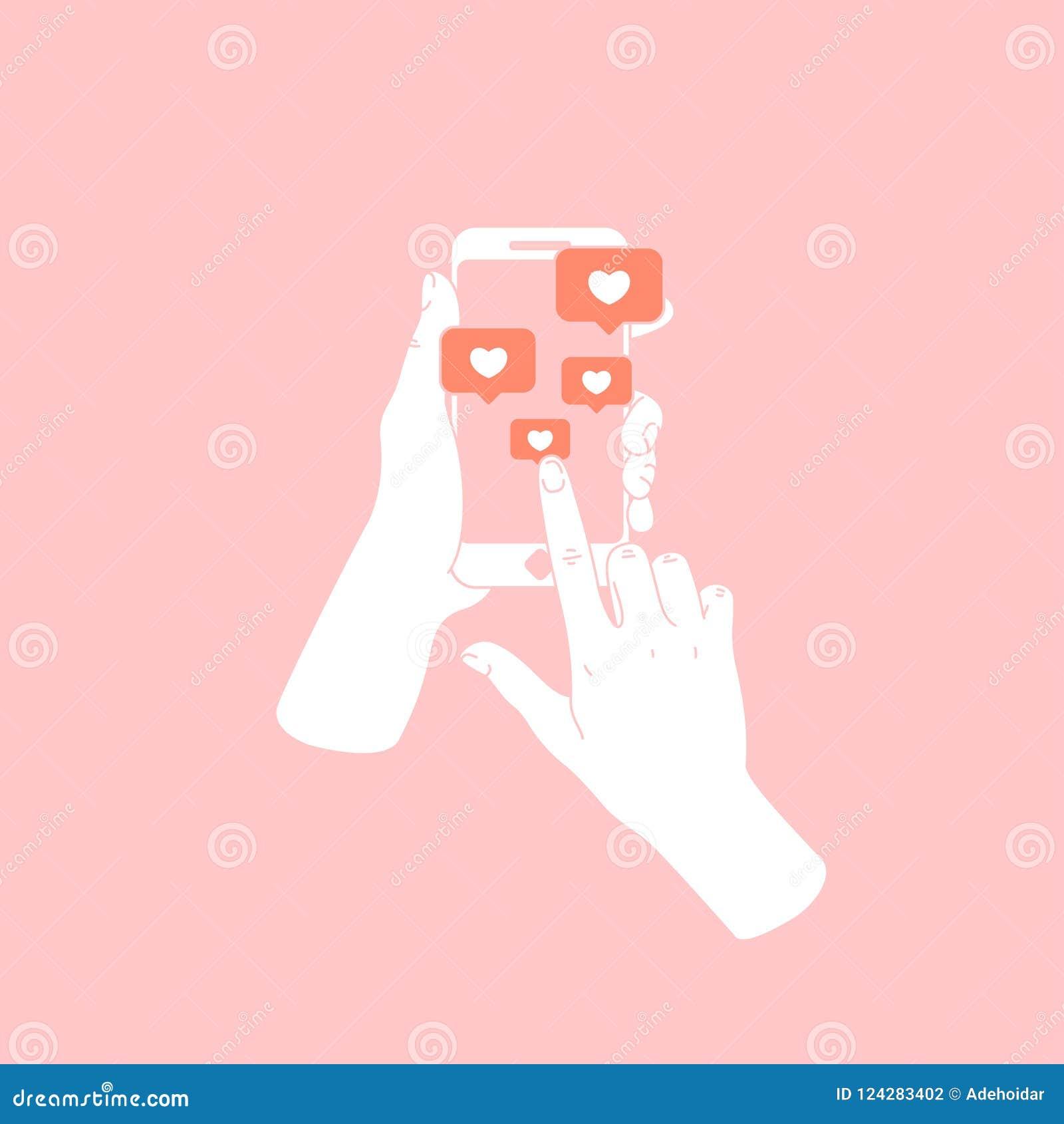Mano de la mujer que sostiene smartphone Nuevos mensajes y gustos Medias notificaciones sociales Ilustración del vector