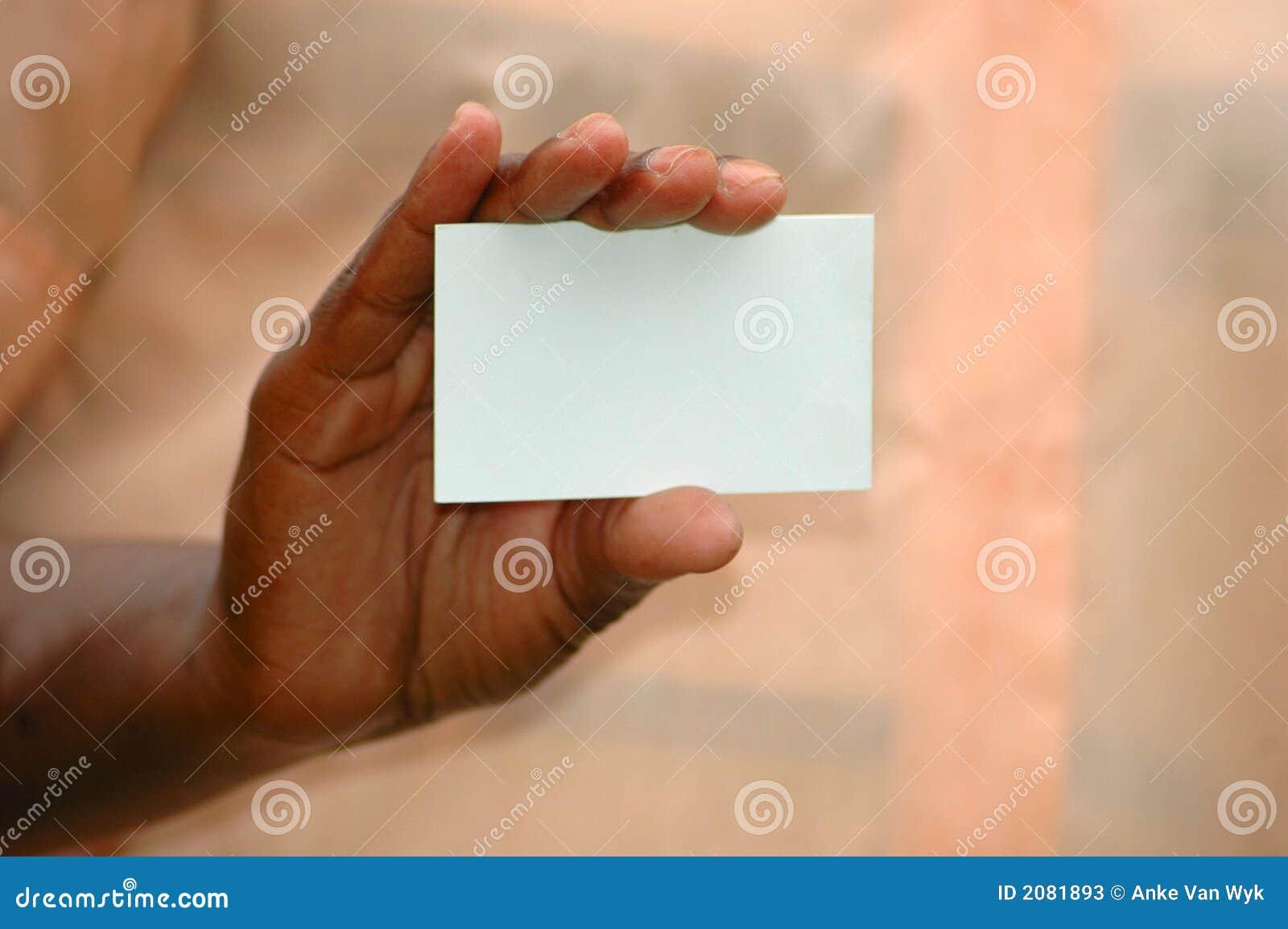 Mano de la tarjeta de visita