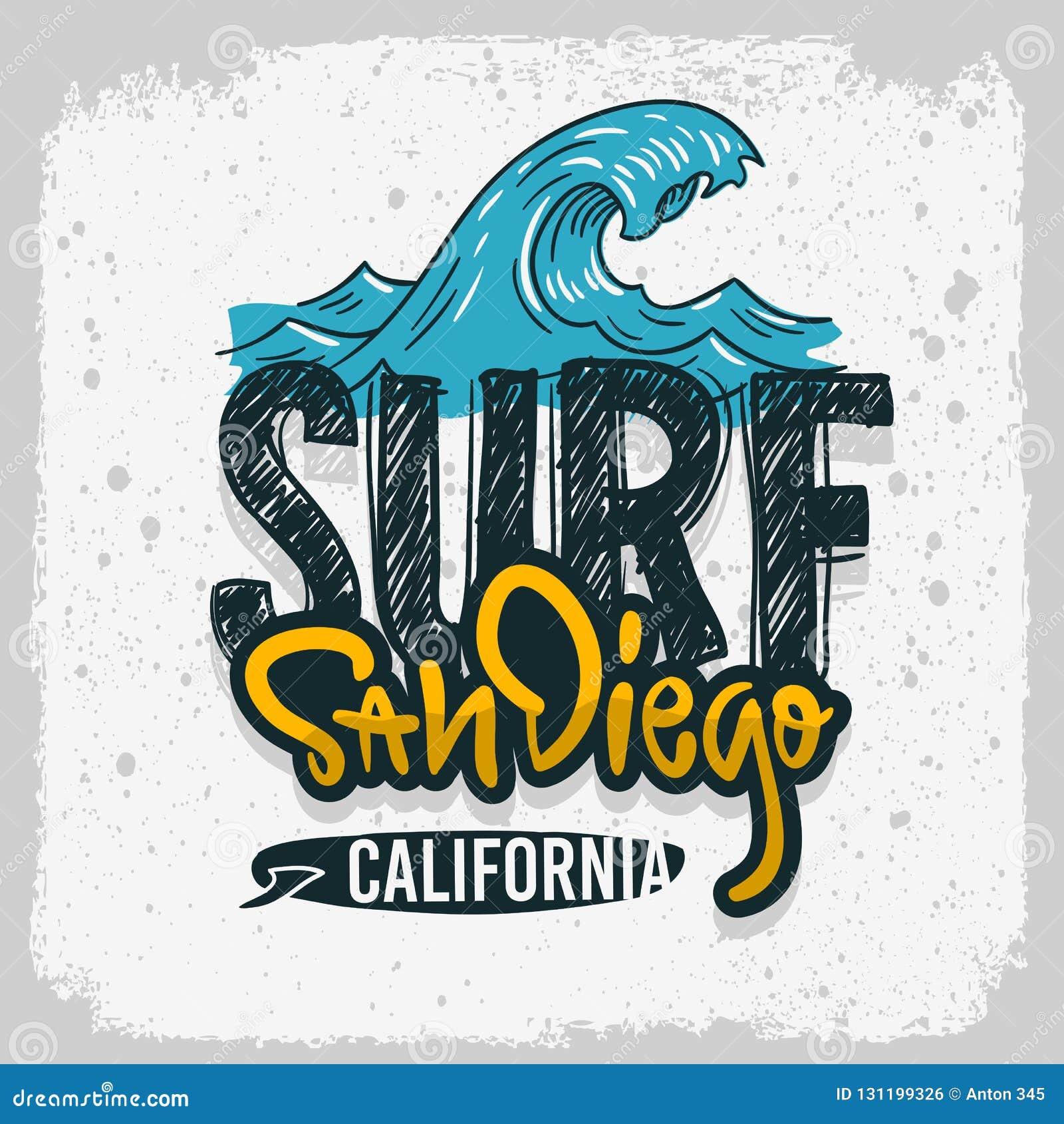 Mano de San Diego California Surfing Surf Design dibujada poniendo letras al tipo Logo Sign Label para la camiseta de los anuncio