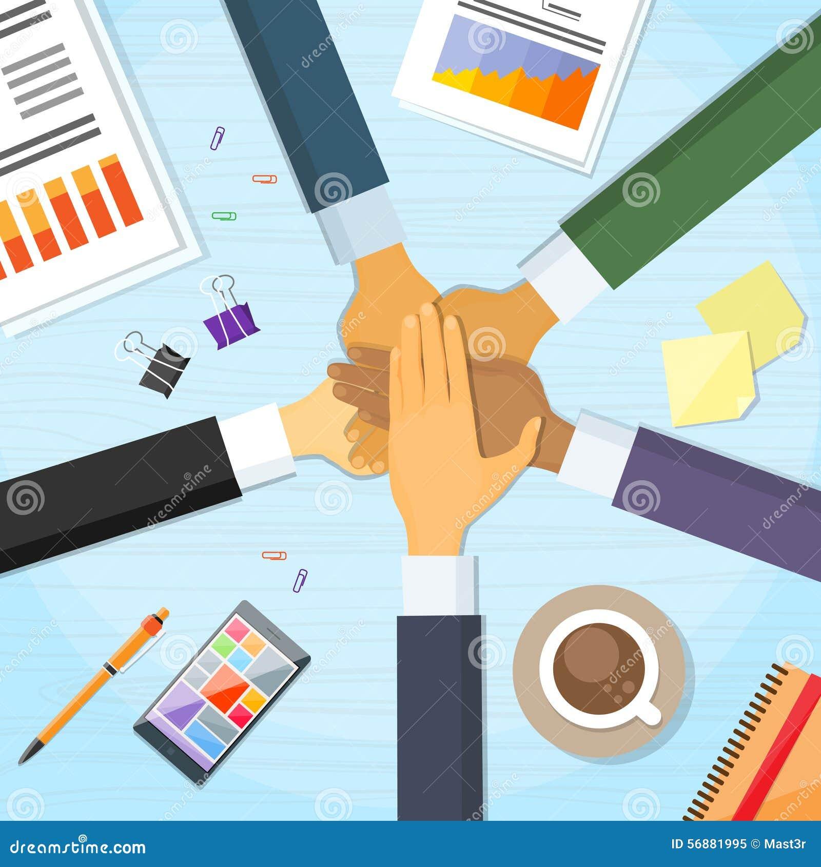 Mano de Team Leader Business People Pile del escritorio de las manos