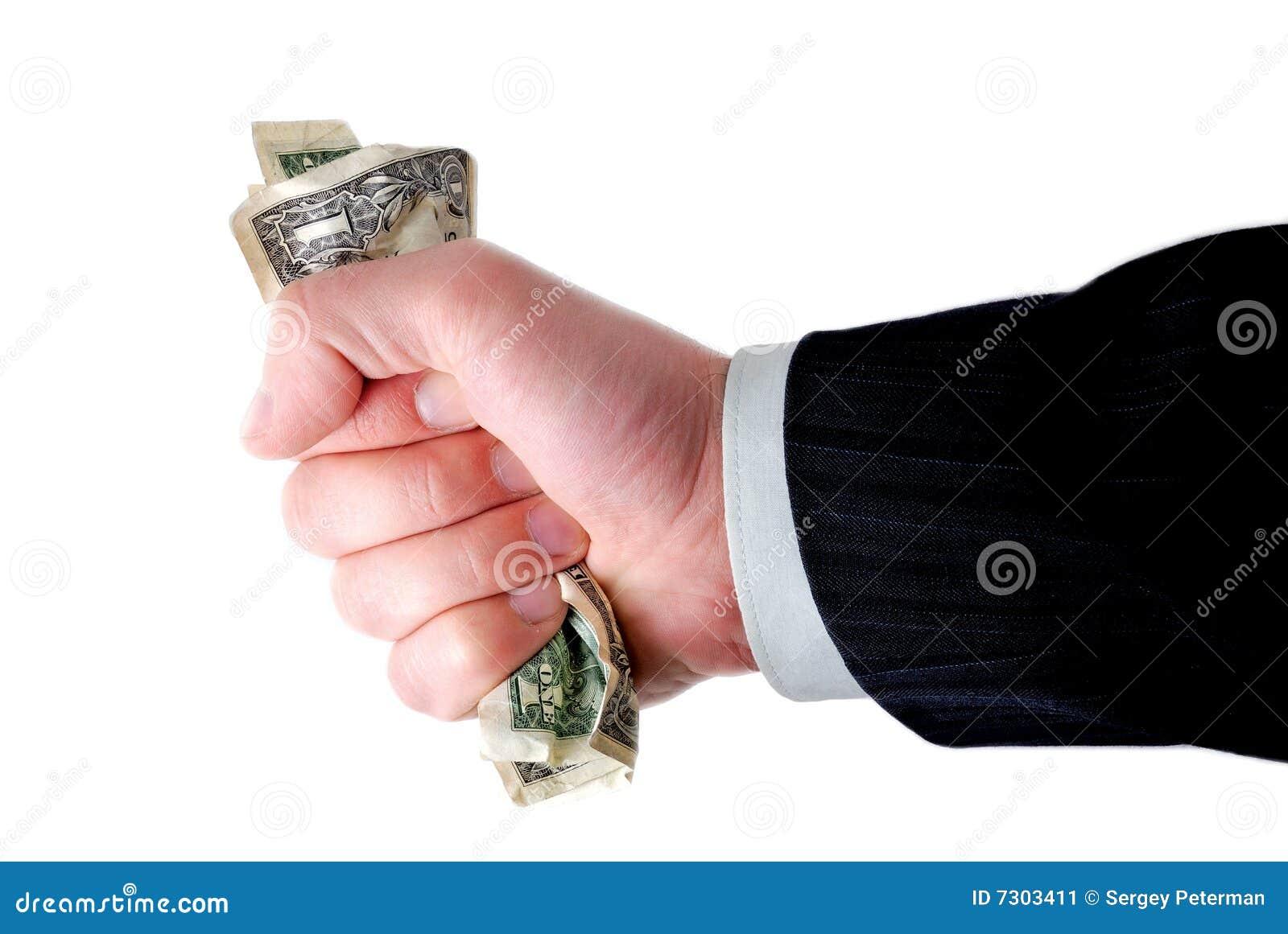 Mano dei contanti della holding dell uomo d affari