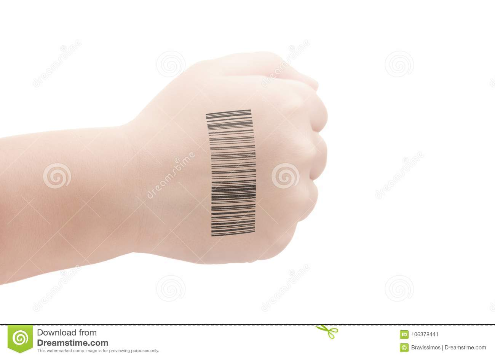 Mano del bambino con il codice di QR degli esperimenti genetici Clone di DNA e del genoma umano Intelligenza artificiale