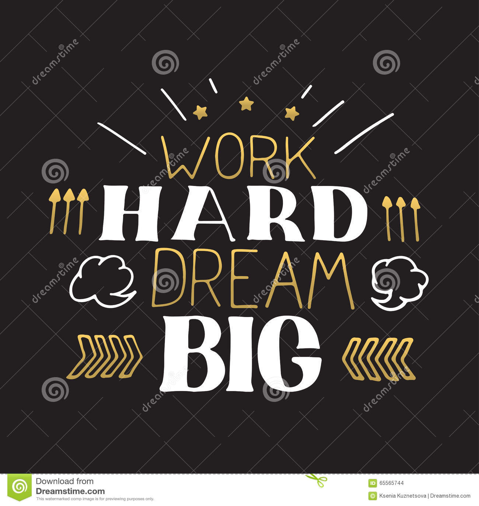 Mano del concepto que pone letras a cita de motivación Grande ideal duro del trabajo Diseño del cartel de la motivación del vecto