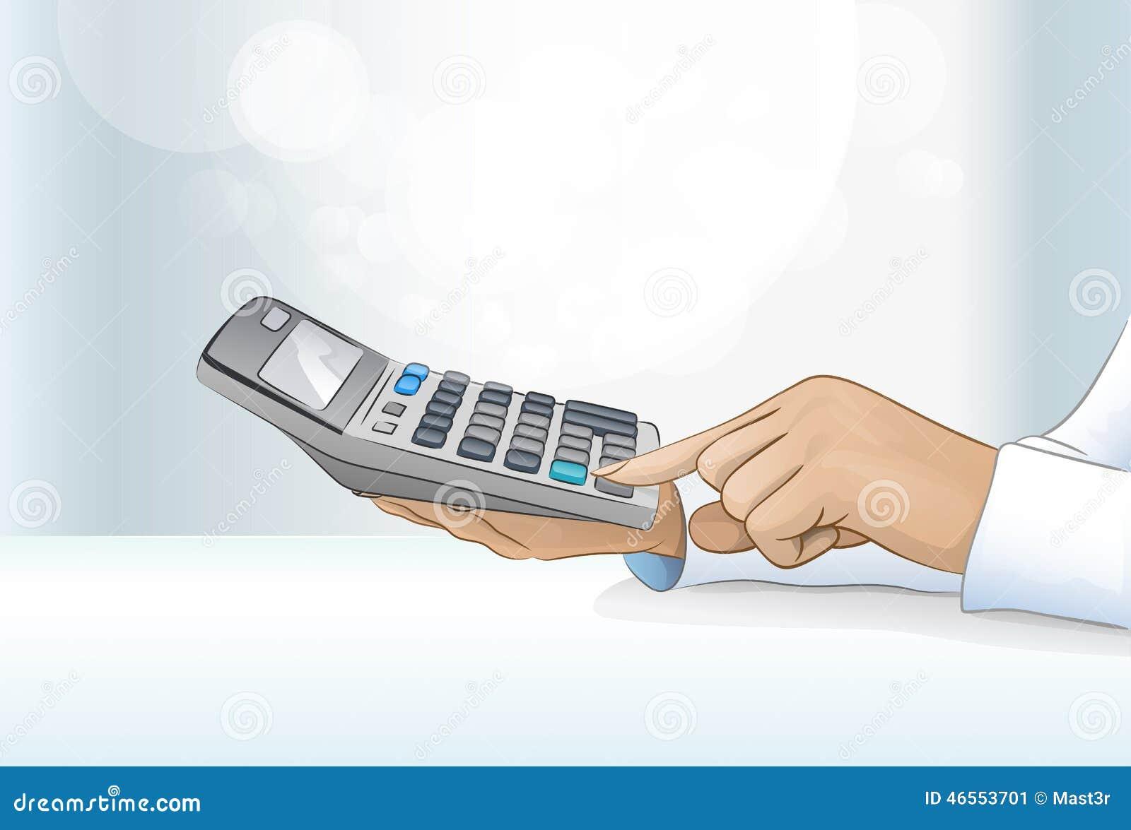 Mano del contable de la mujer de negocios de la calculadora