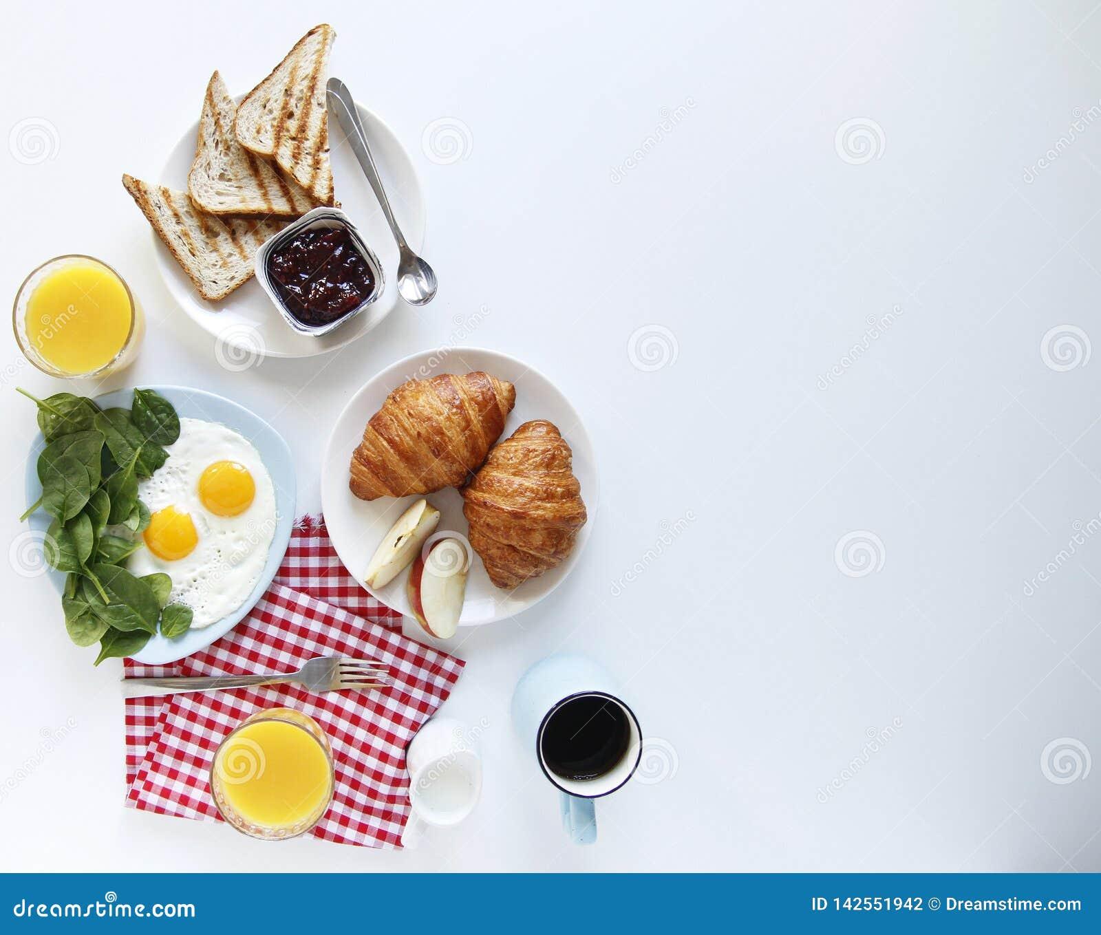 Mano del desayuno Visi?n superior Fondo ligero Copie el espacio