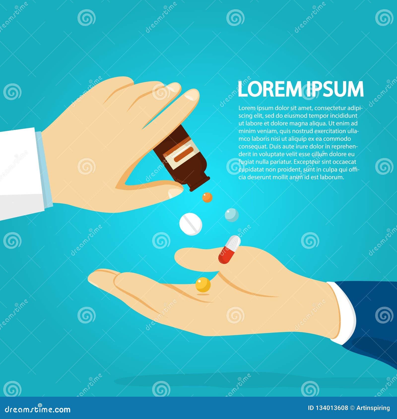 Mano del doctor que da la medicina paciente Dosis de médico