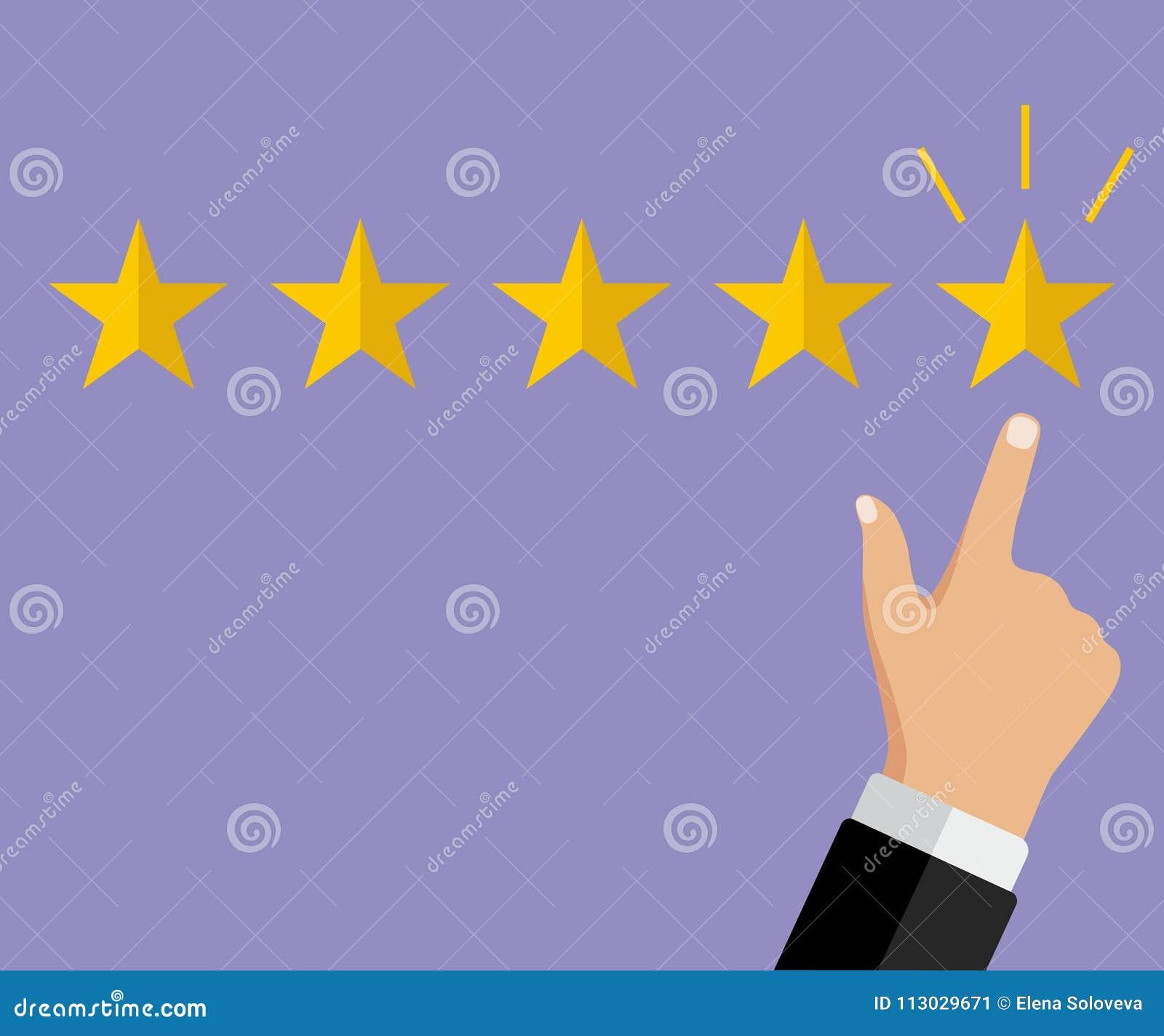 Mano del hombre de negocios que señala símbolo de cinco estrellas al grado del aumento de la compañía