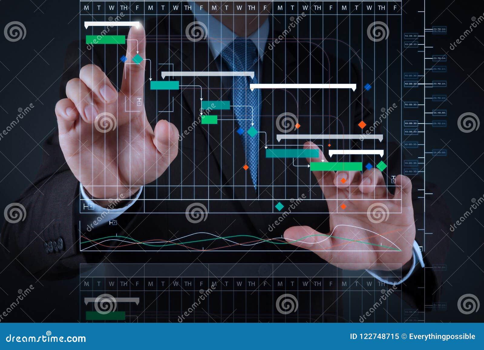 Mano del hombre de negocios que trabaja con la pantalla táctil