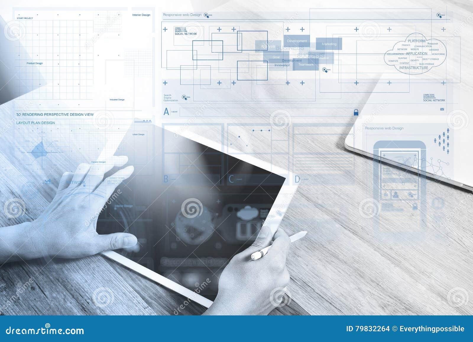 Mano del hombre de negocios que trabaja con la tableta digital pH elegante de la pluma de la aguja