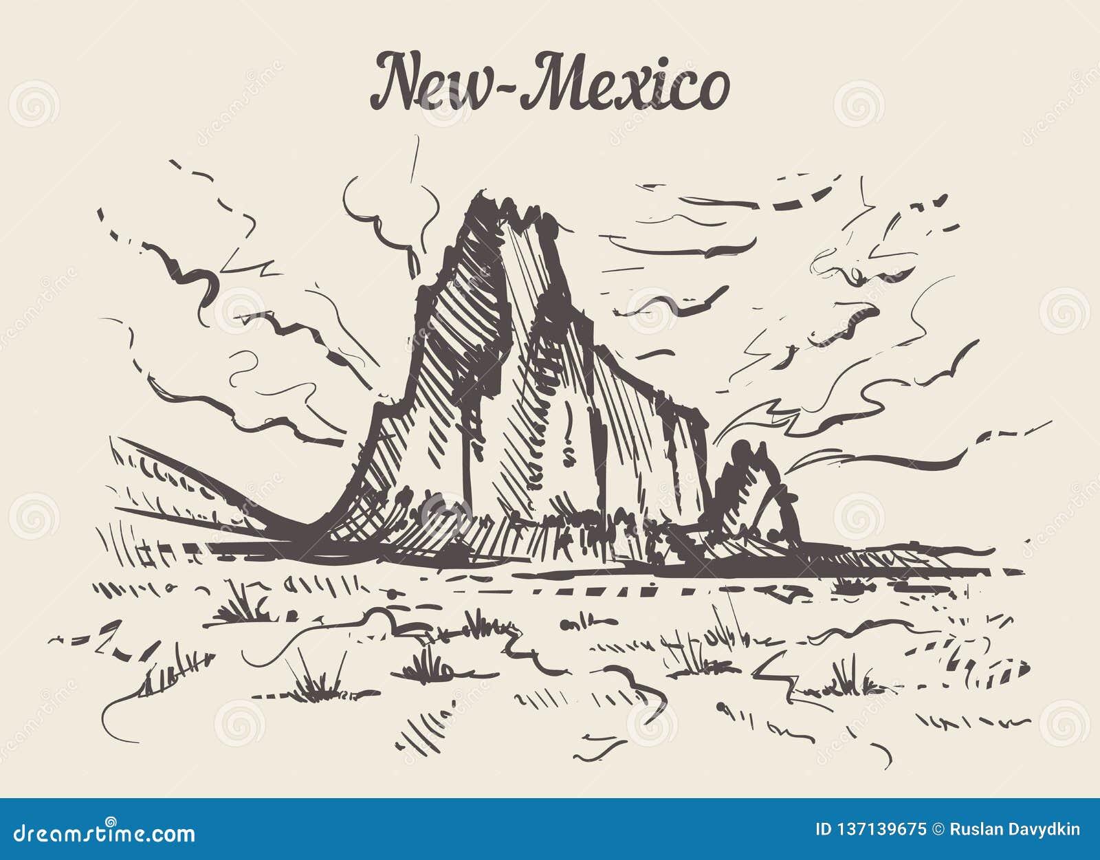 Mano del horizonte de New México dibujada Ejemplo del vector del estilo del bosquejo de New México