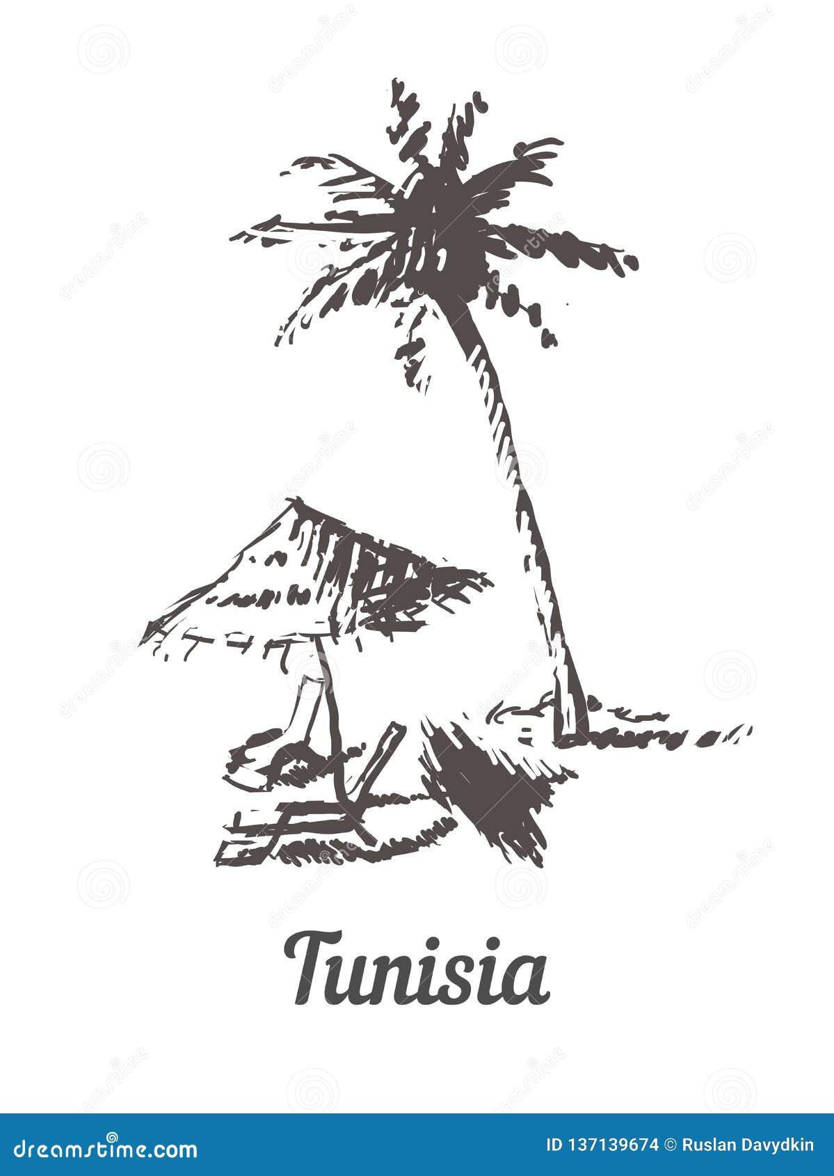 Mano del horizonte de Túnez dibujada Ejemplo del vector del estilo del bosquejo de Túnez Palm Beach