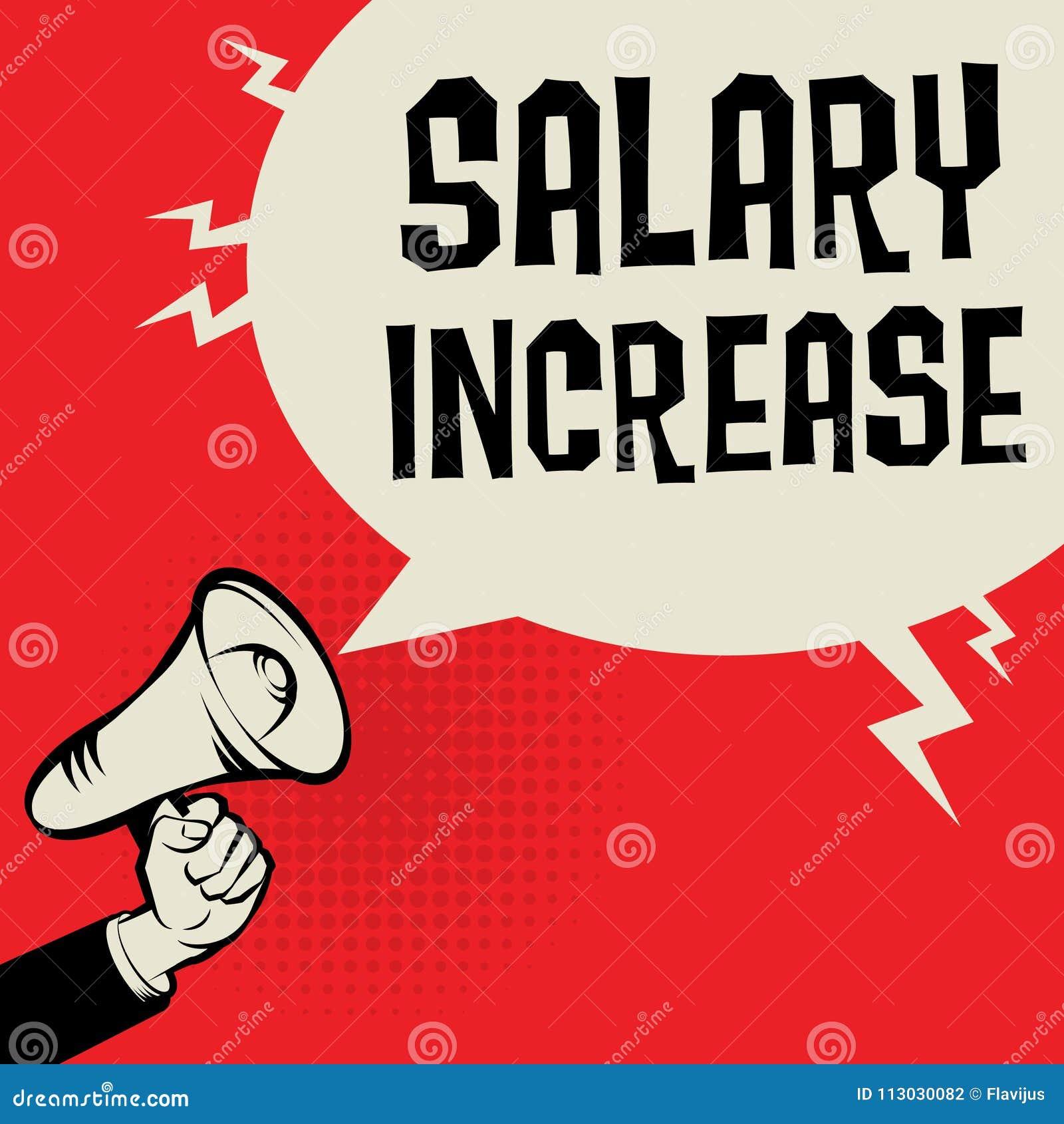 Mano del megáfono, concepto del negocio con aumento salarial del texto