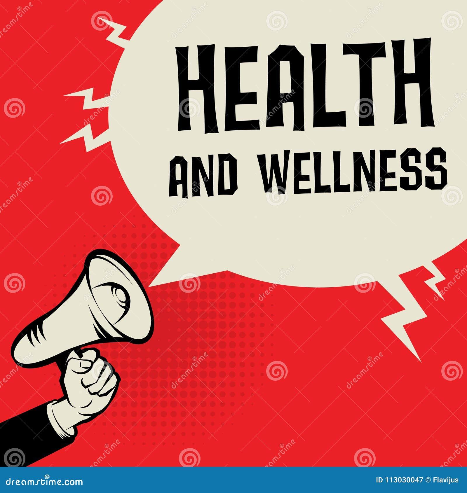 Mano del megáfono, concepto del negocio con salud del texto y salud