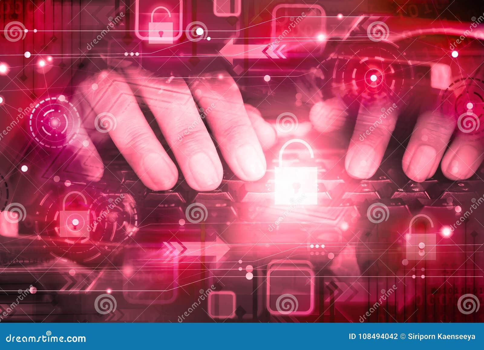 Mano del pirata informático en el teclado de ordenador con el icono desbloqueado, ataque cibernético, red sin garantía, seguridad