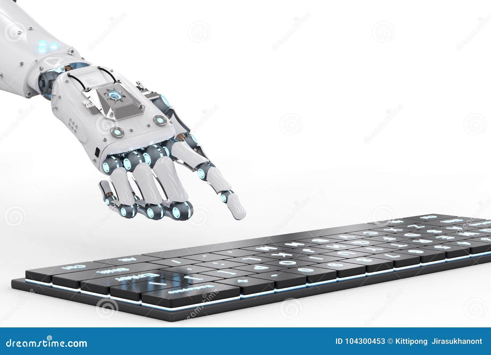 Mano del robot con el teclado