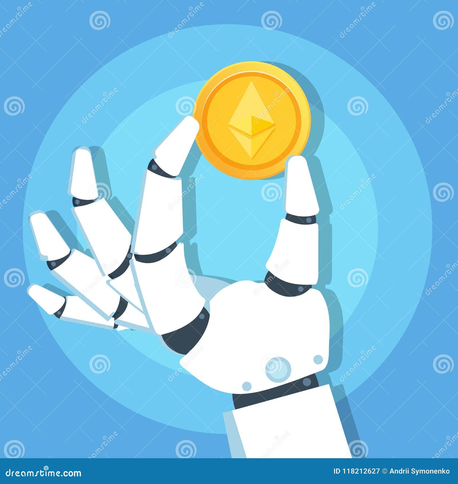 Mano del robot que lleva a cabo el icono de la moneda de oro de Ethereum Cryptocurrency Concepto de la tecnología de Blockchain