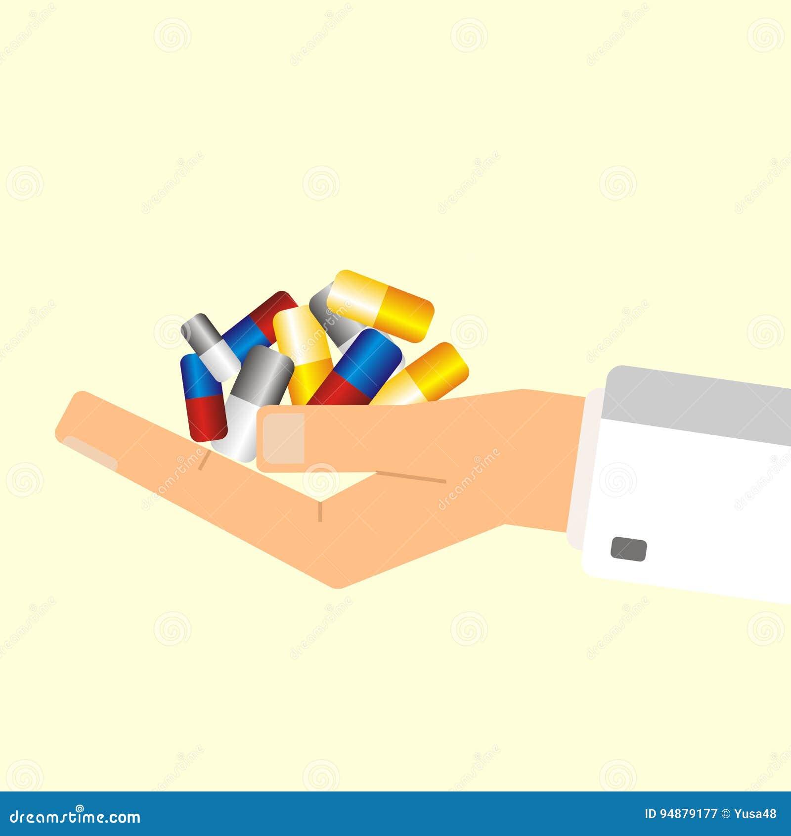 Mano del ` s del doctor que sostiene píldoras Concepto del cuidado médico Illustr del vector