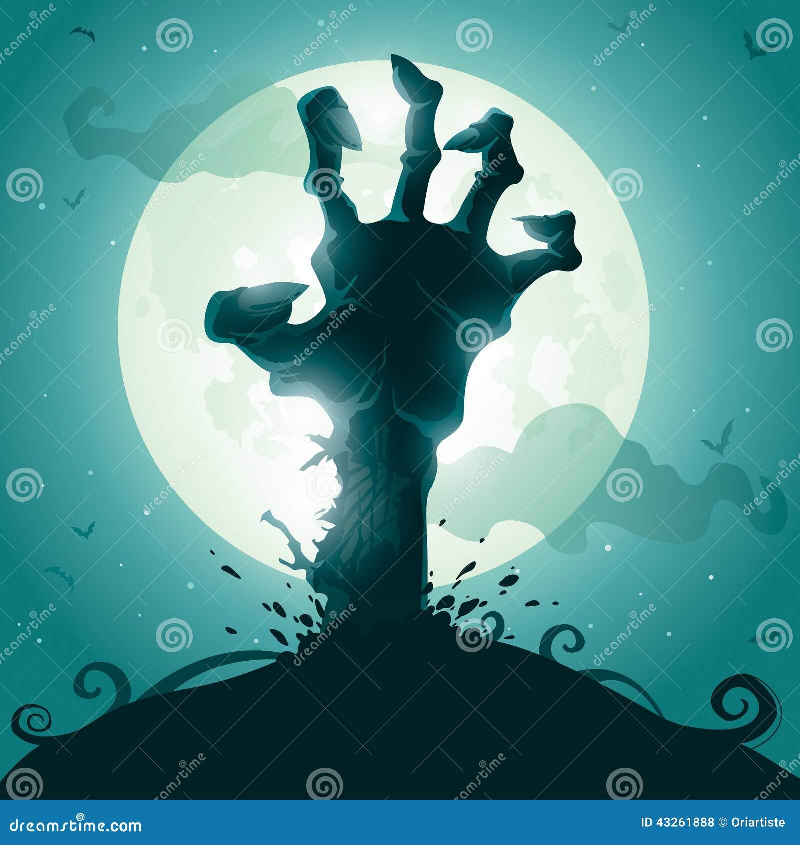 Mano del zombi en la Luna Llena
