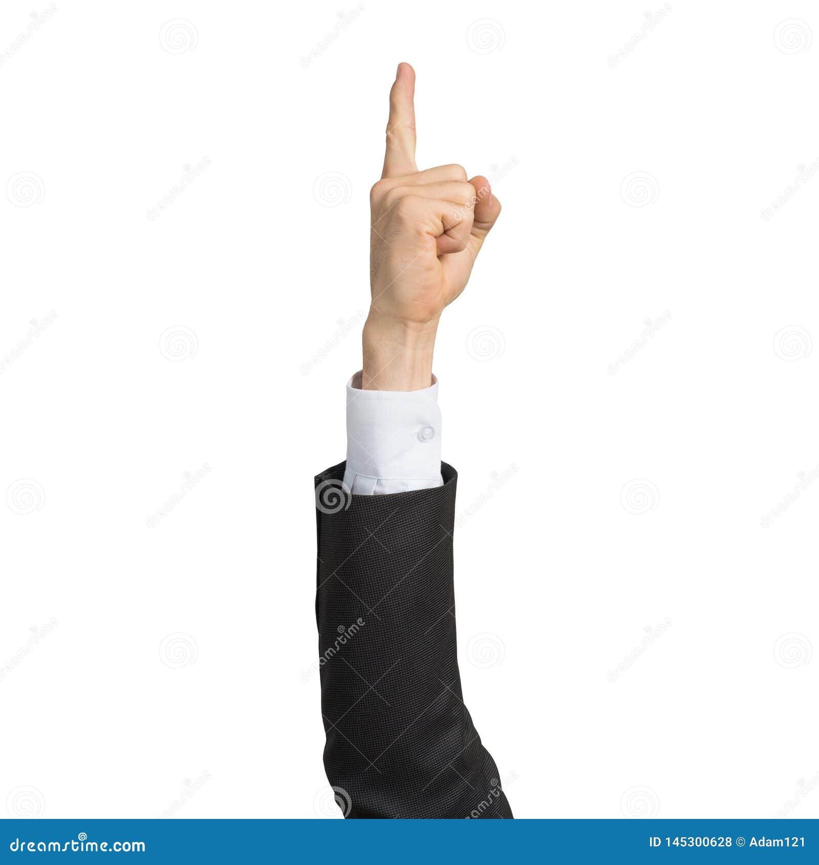 Mano dell uomo d affari nell indicare del dito di rappresentazione del vestito