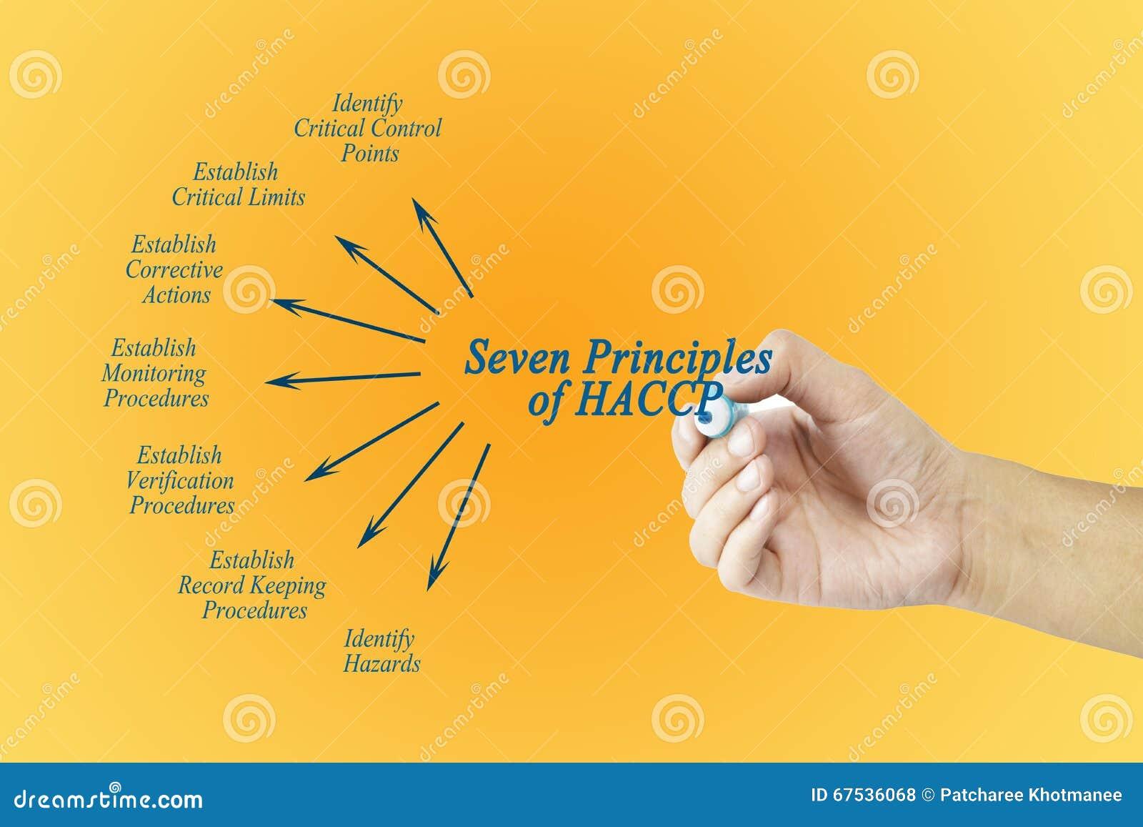 Mano della donna che indica elemento del principio di HACCP per utilizzato nella fabbricazione