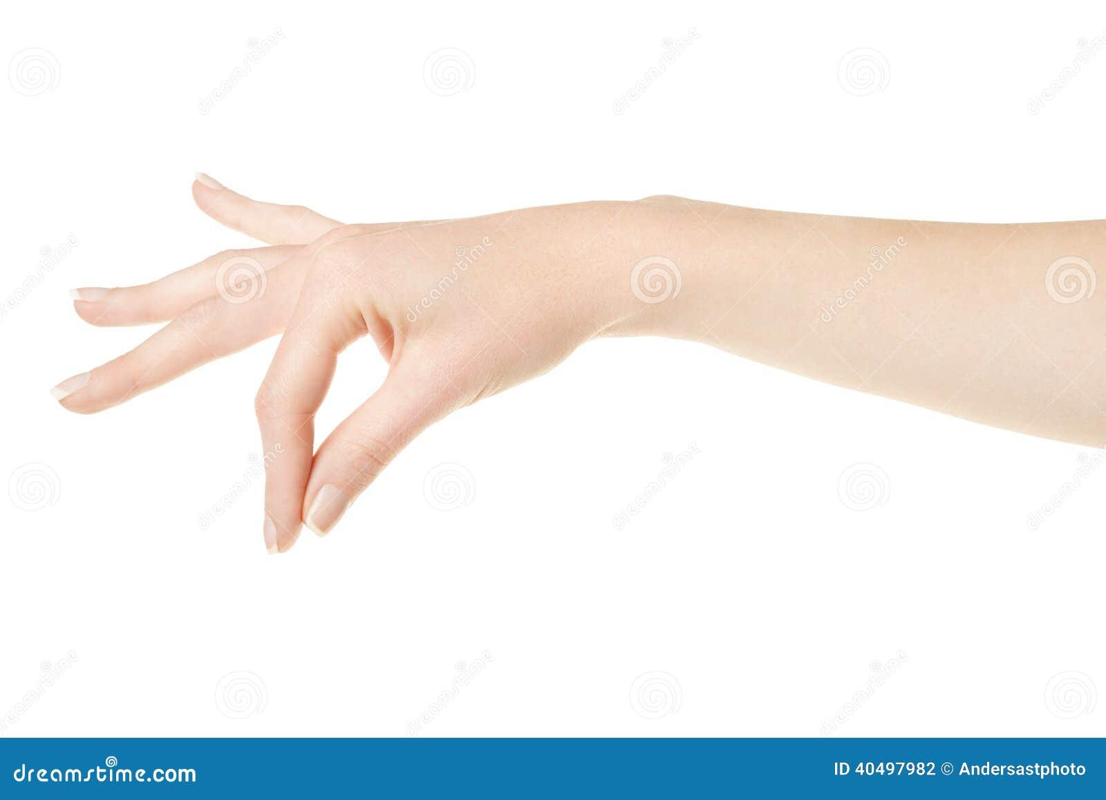 Mano della donna con gli elementi della tenuta del manicure