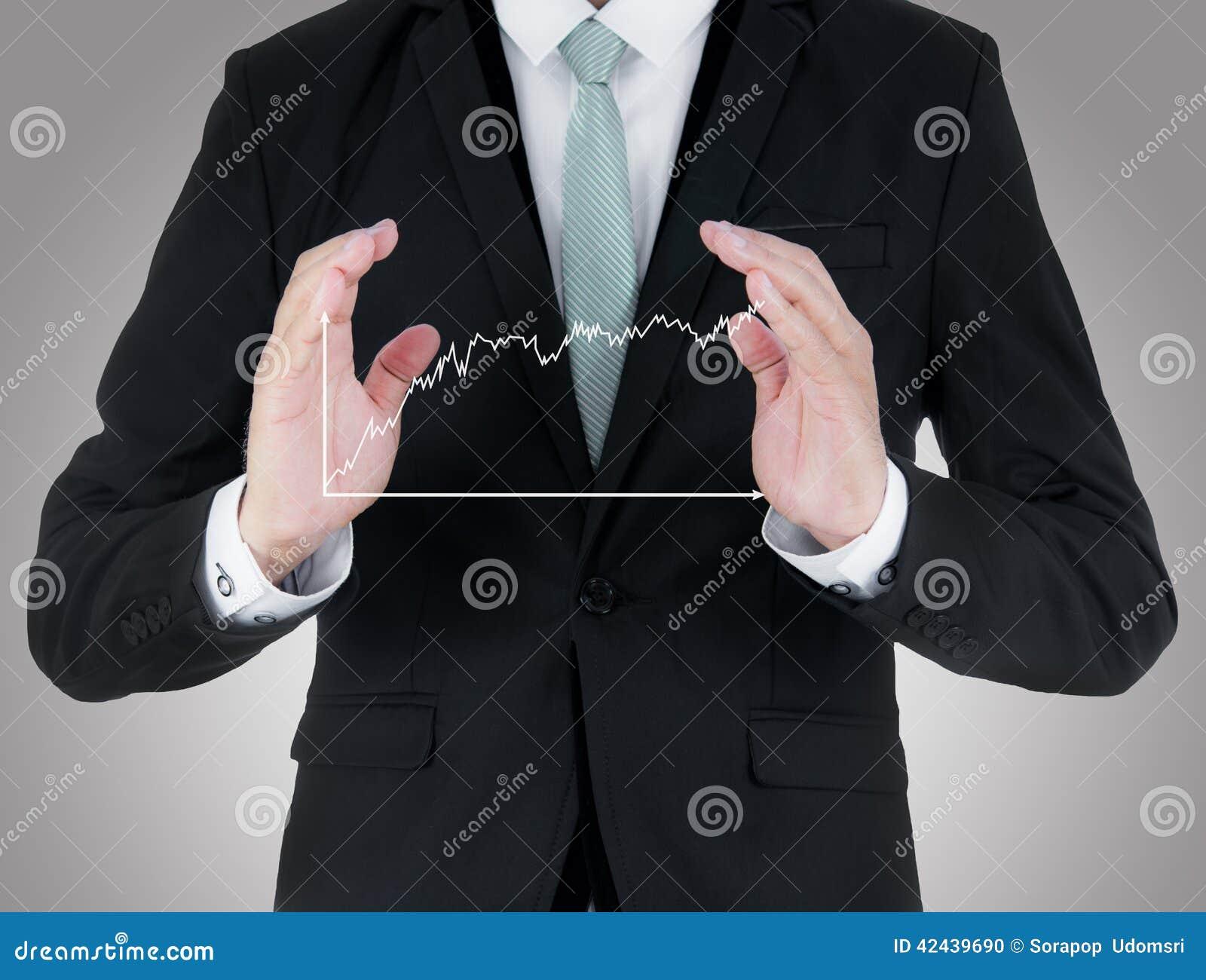 Mano derecha de la postura del hombre de negocios que lleva a cabo finanzas del gráfico aisladas