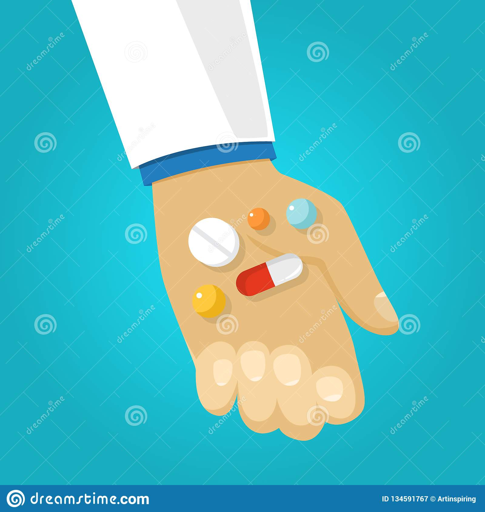 Mano di medico che dà medicina paziente Dose di medico