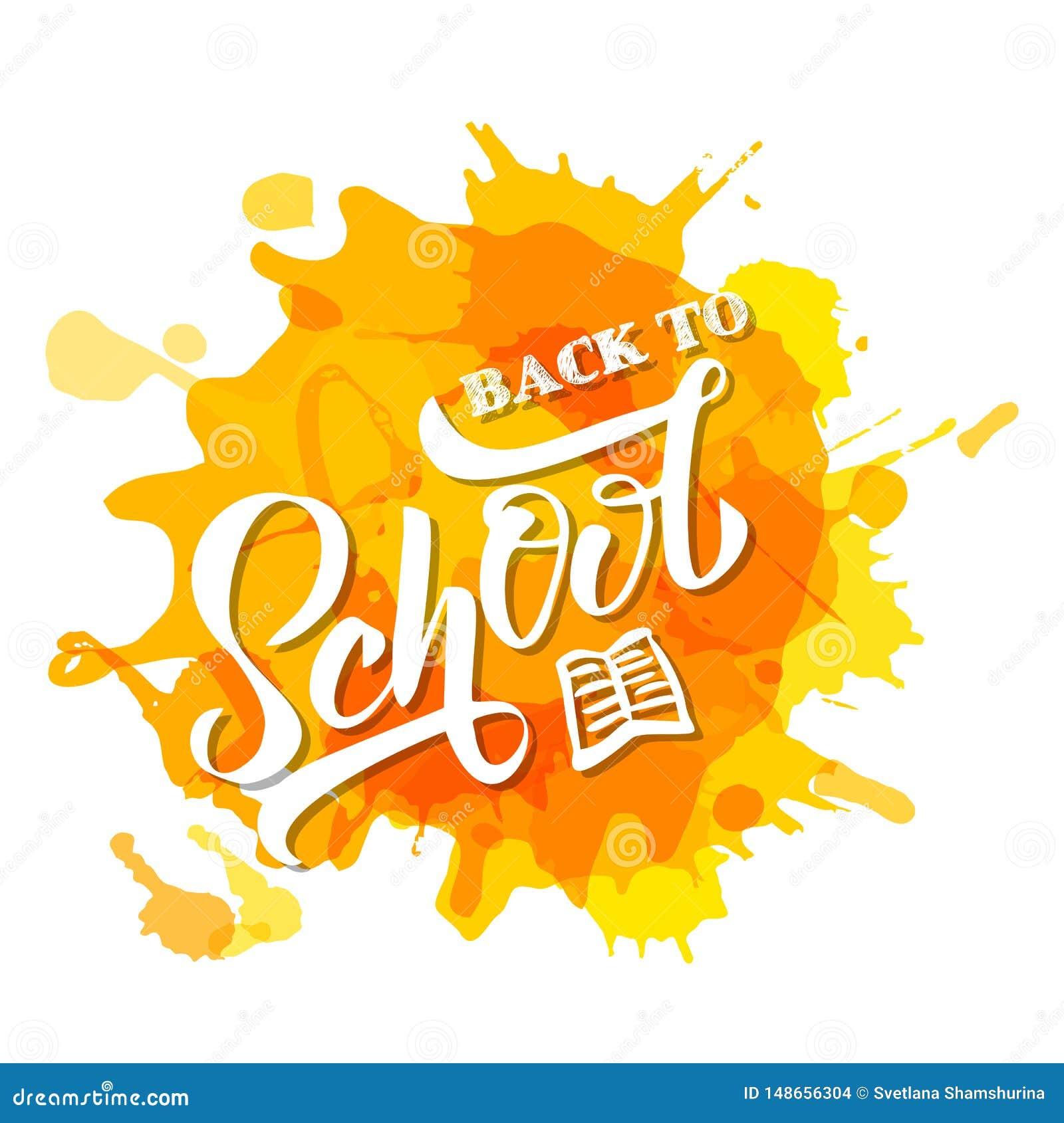Mano dibujada de nuevo a letras de la escuela en manchas blancas /negras amarillas Dise?o perfecto para el invetation, anuncios,