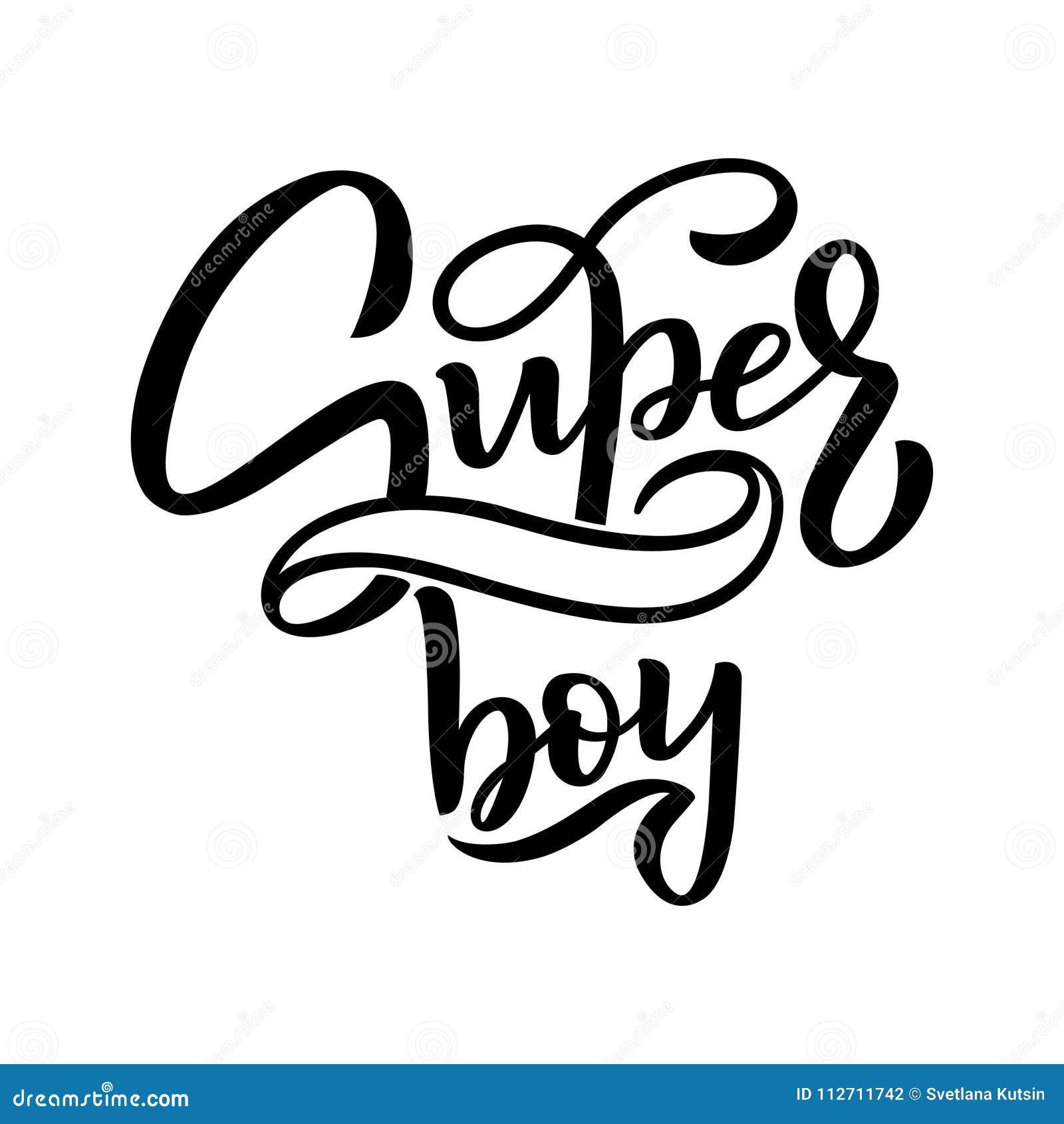 Mano dibujada poniendo letras al muchacho estupendo para el bebé para imprimir, cardar, materia textil, ropa Impresión de los niñ