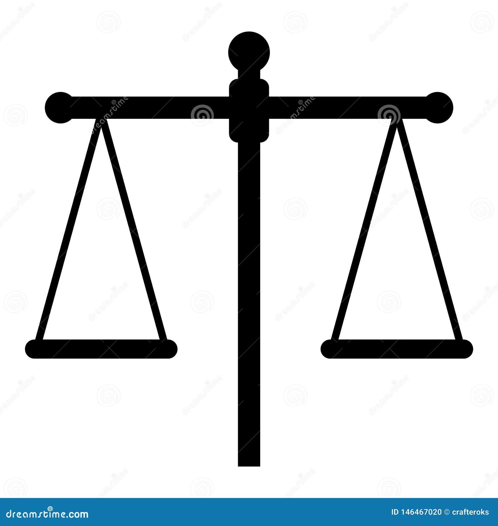 Mano dibujada, vector, EPS, logotipo, icono, crafteroks, ejemplo del vector EPS de la escala de la justicia de la silueta para di