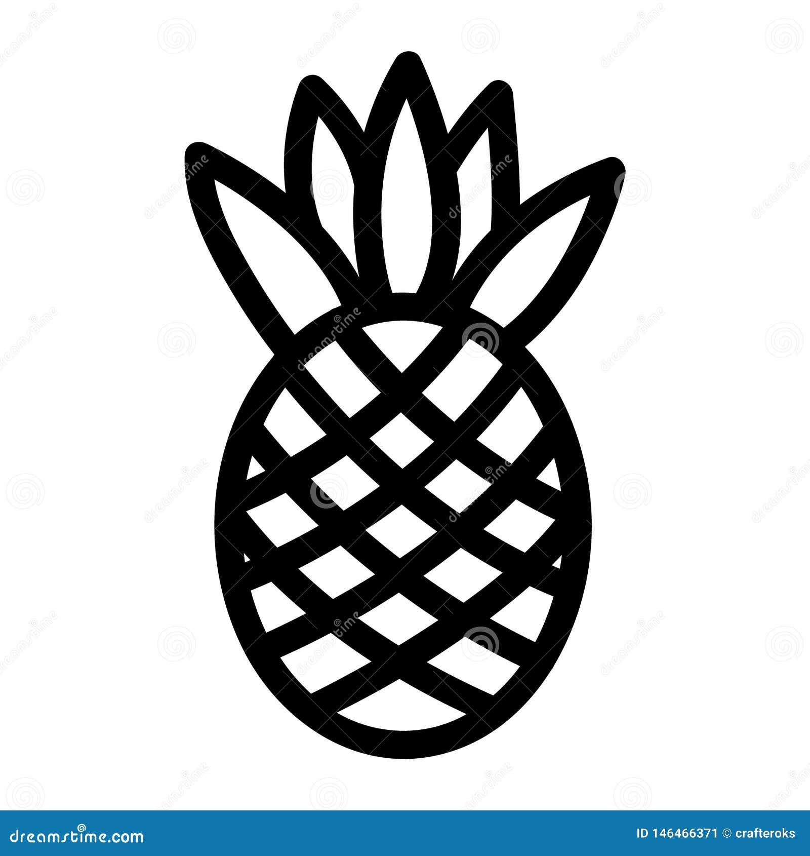 Mano dibujada, vector, EPS, logotipo, icono, crafteroks, ejemplo del vector EPS de la piña de la silueta para diversas aplicacion