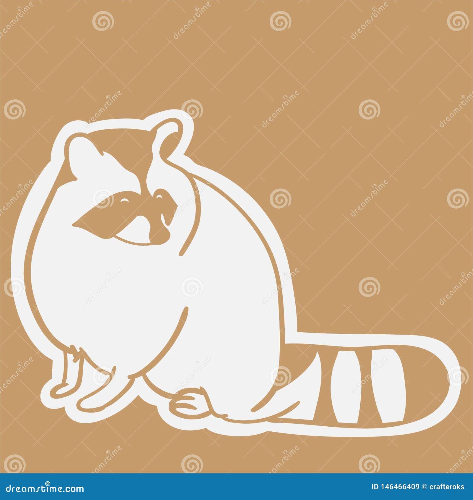 Mano dibujada, vector, EPS, logotipo, icono, crafteroks, ejemplo del vector EPS del mapache de la silueta para diversas aplicacio