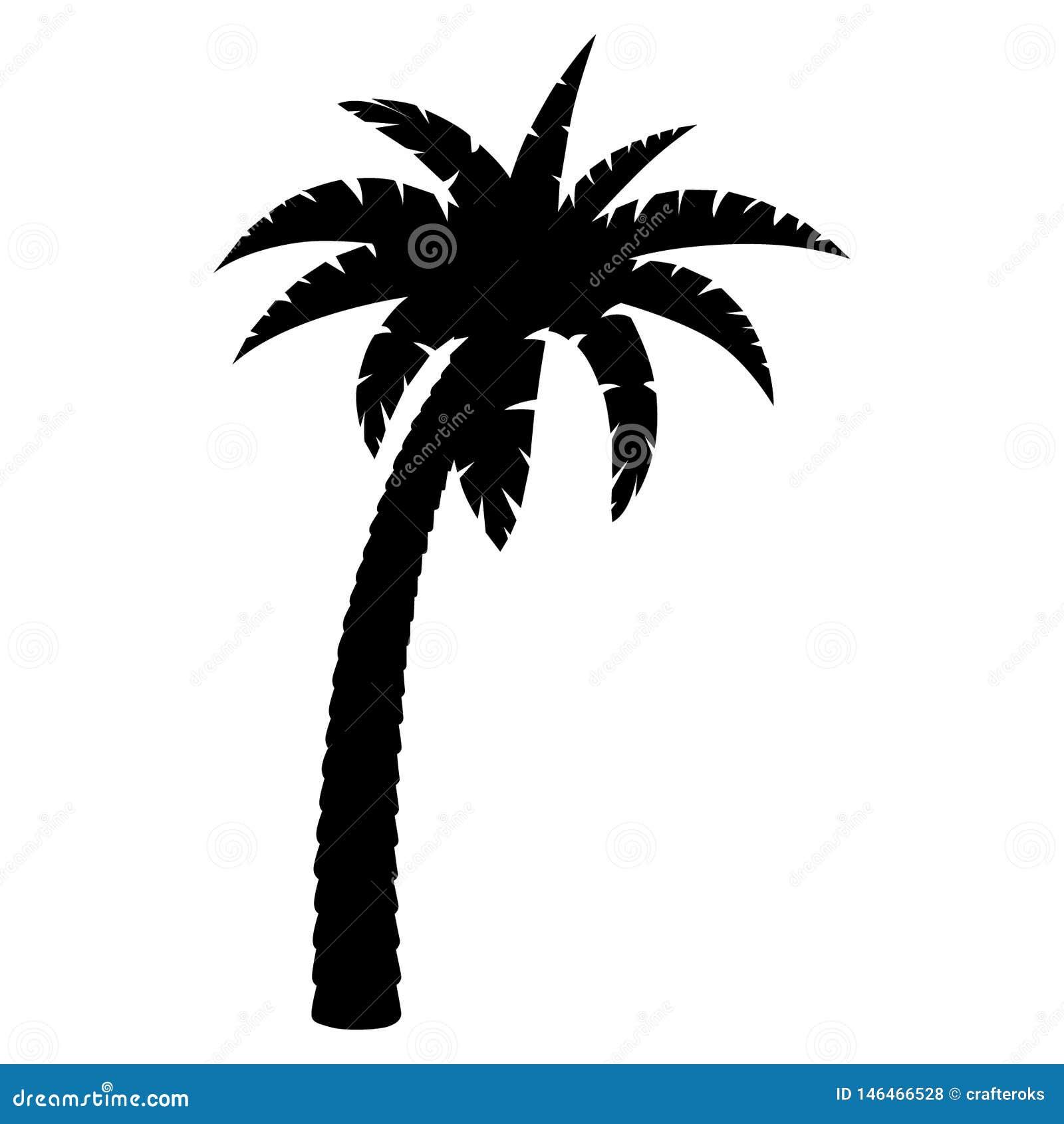 Mano dibujada, vector, EPS, logotipo, icono, ejemplo de la palmera de la silueta por los crafteroks para diversas aplicaciones