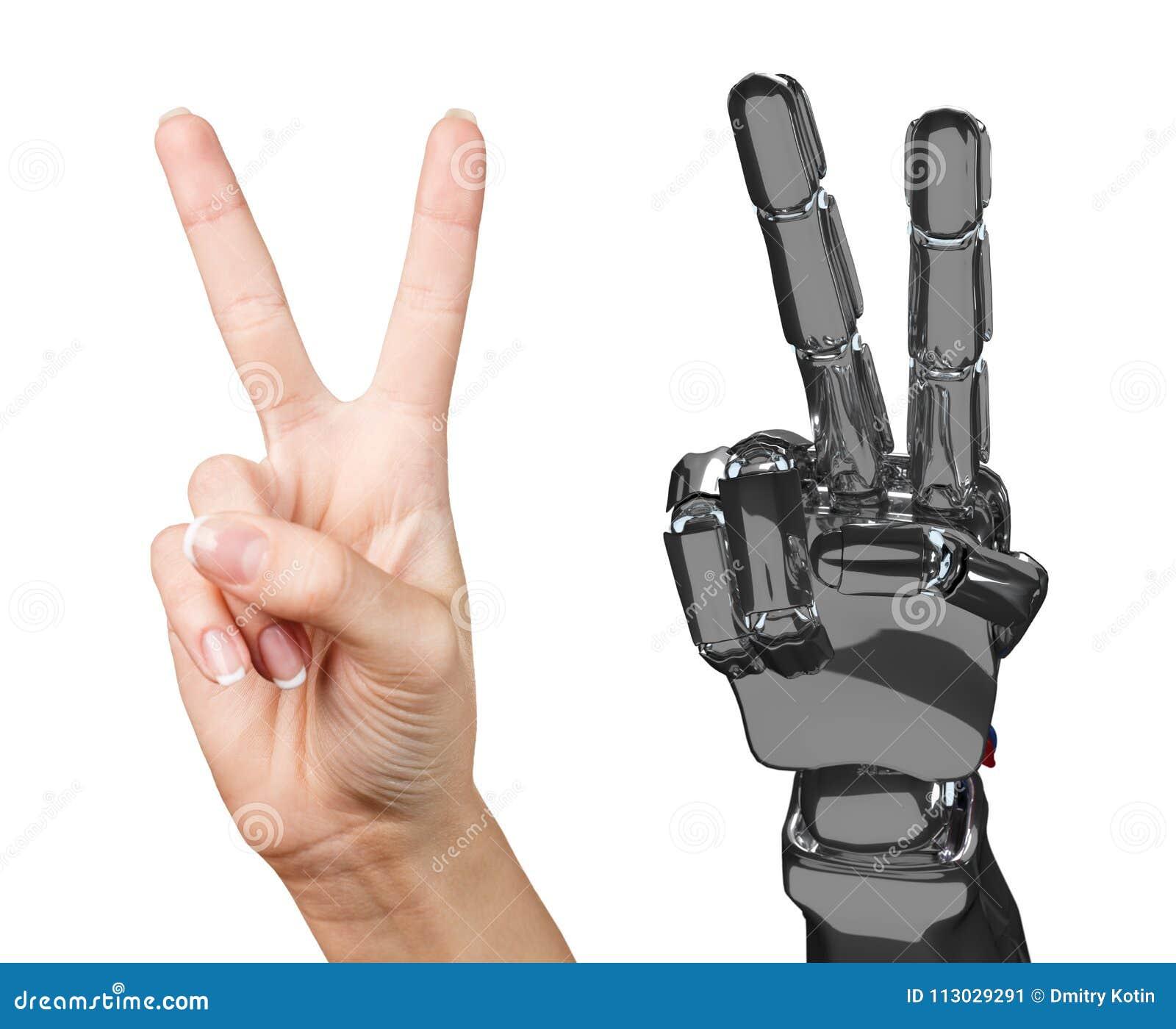 Mano humana y robótica junto representación 3d