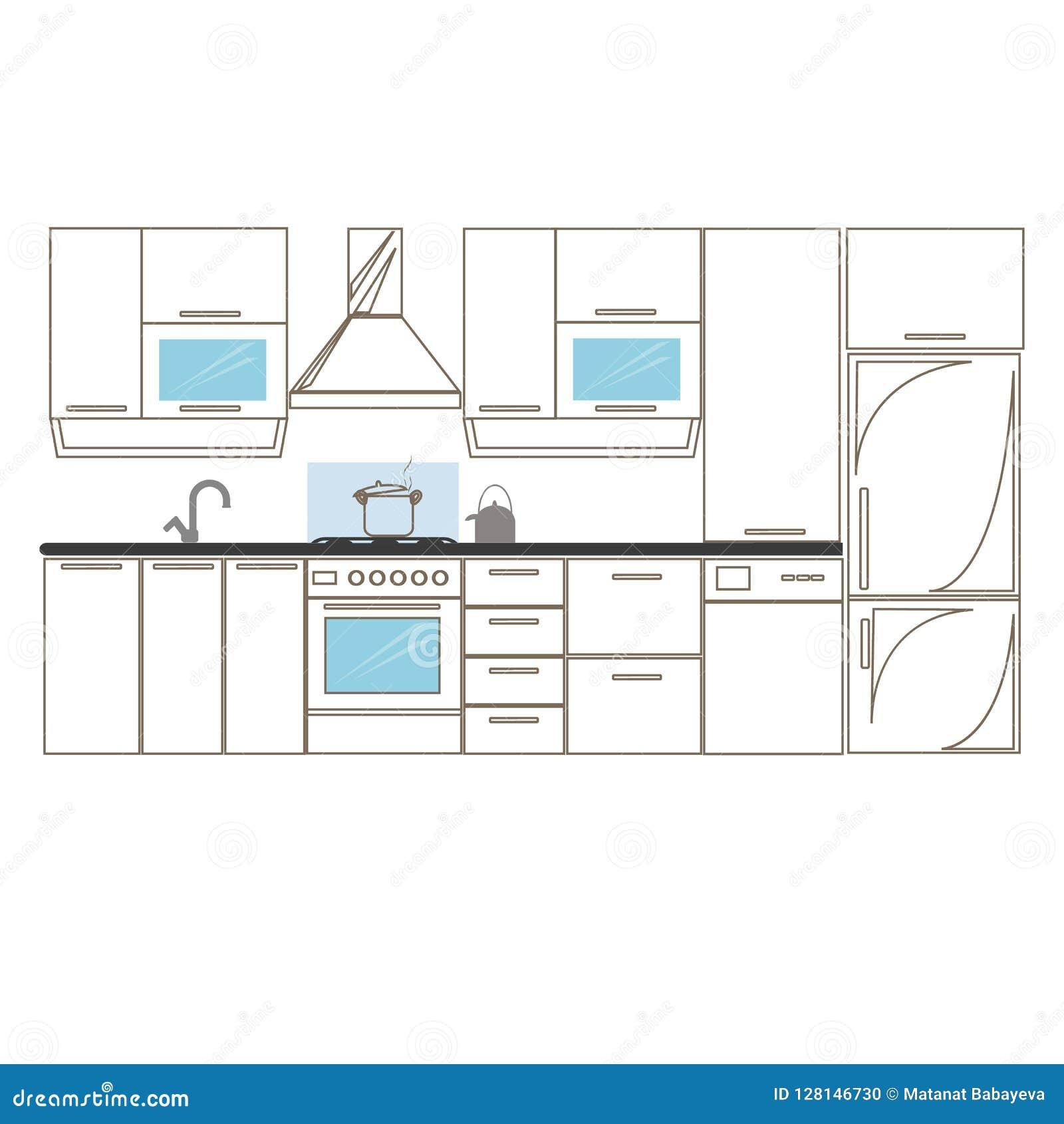 Mano Interior De Los Bosquejos De La Cocina Que Dibuja Vista Delantera  Muebles Y Equipo De