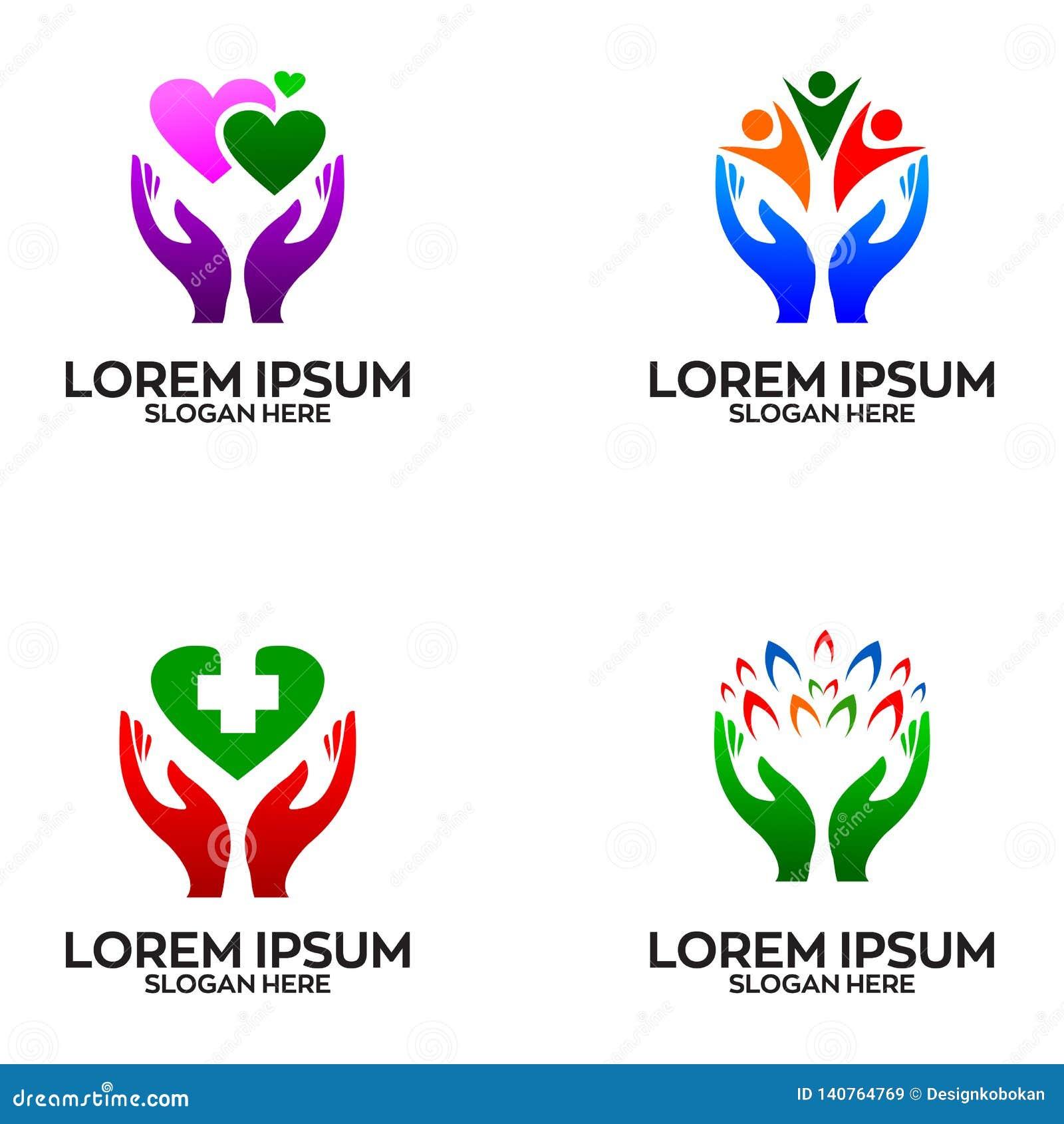Mano Logo Design Template de la salud y del cuidado