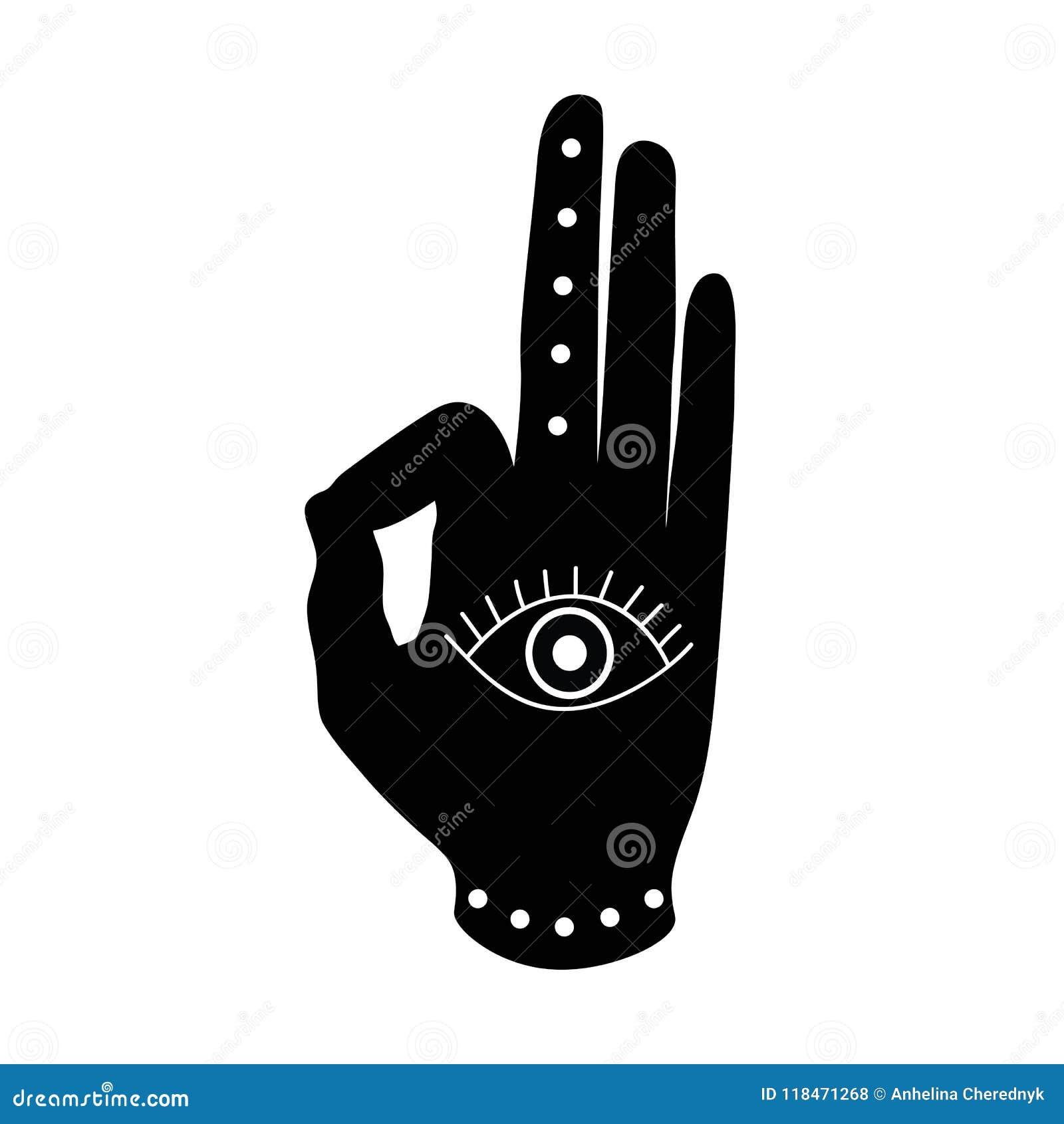 Mano negra con símbolo del hinduism del buddhism del mudra del ojo