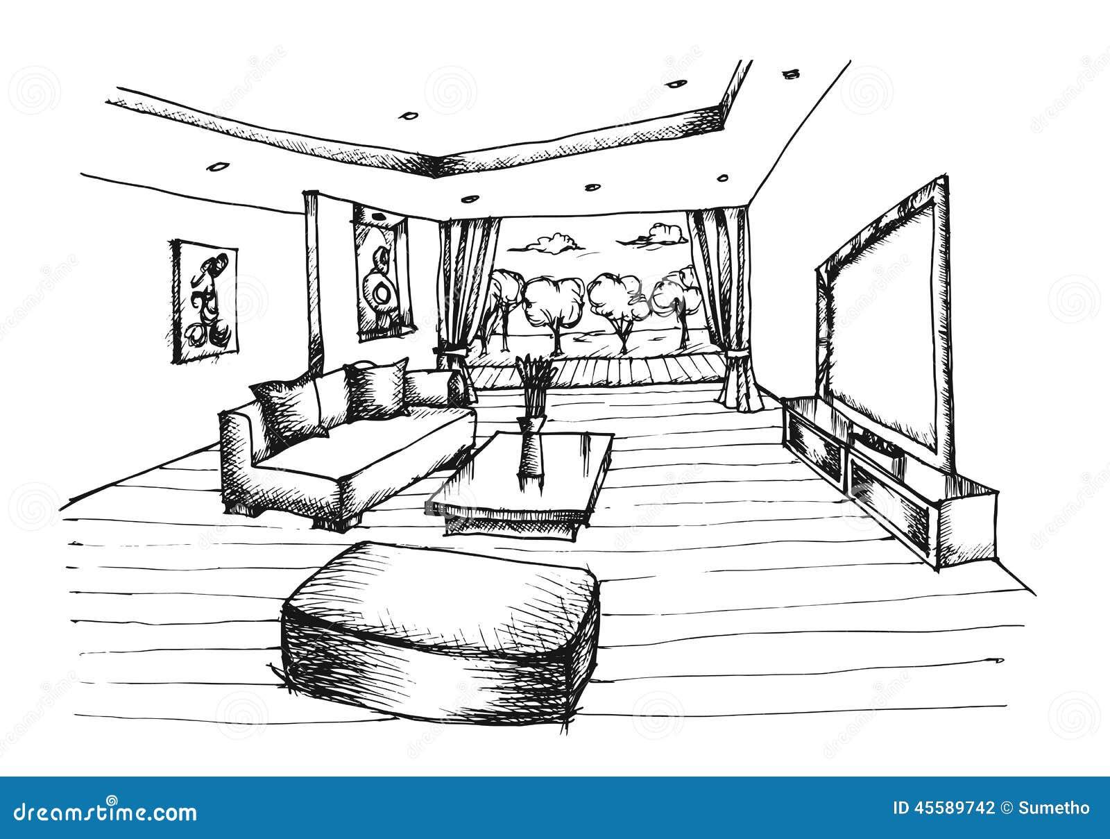 Mano que dibuja el dise o interior para la sala de estar for Diseno de interiores dibujos