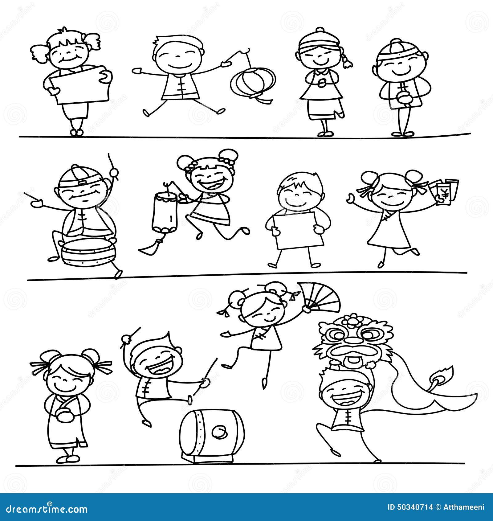 Mano Que Dibuja El Personaje De Dibujos Animados Chino Del ...