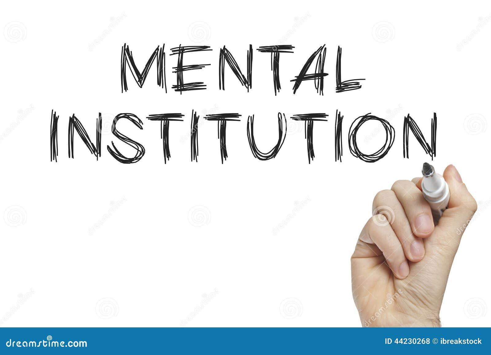 Mano que escribe a la institución mental