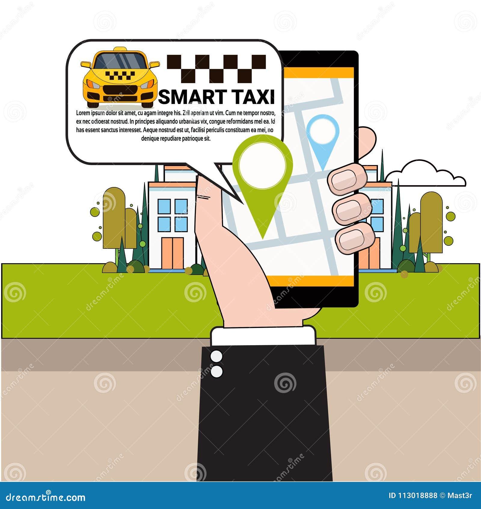 Mano que sostiene el coche del taxi del teléfono que ordena elegante con el App móvil