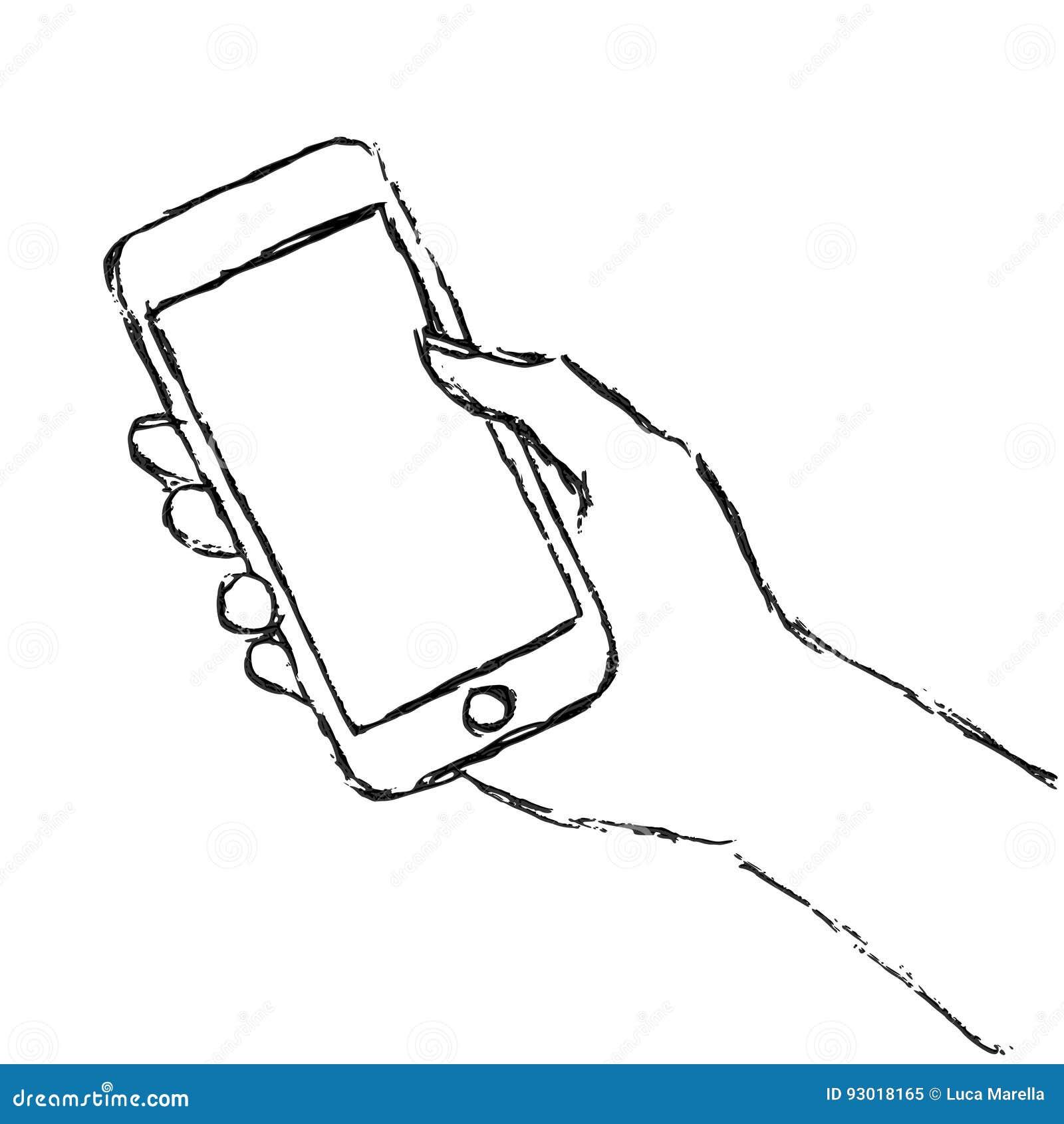 Mano que sostiene el teléfono elegante