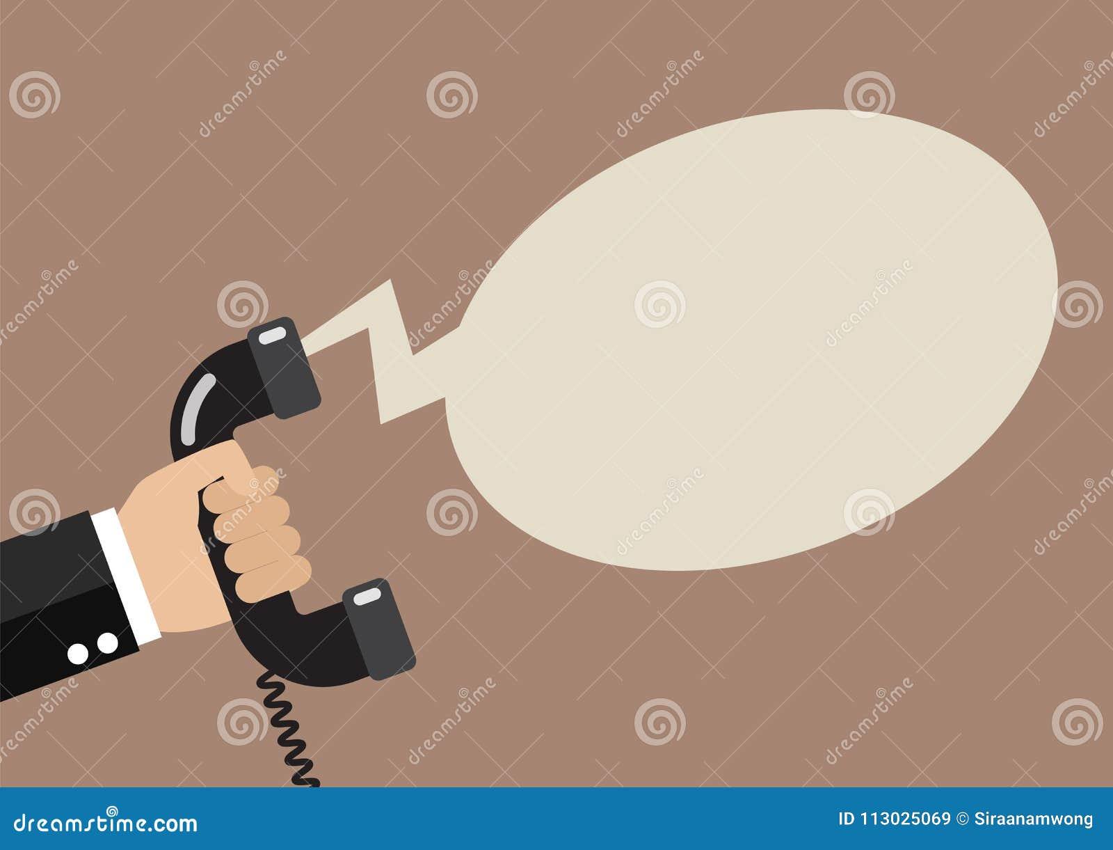 Mano que sostiene el teléfono en estilo plano